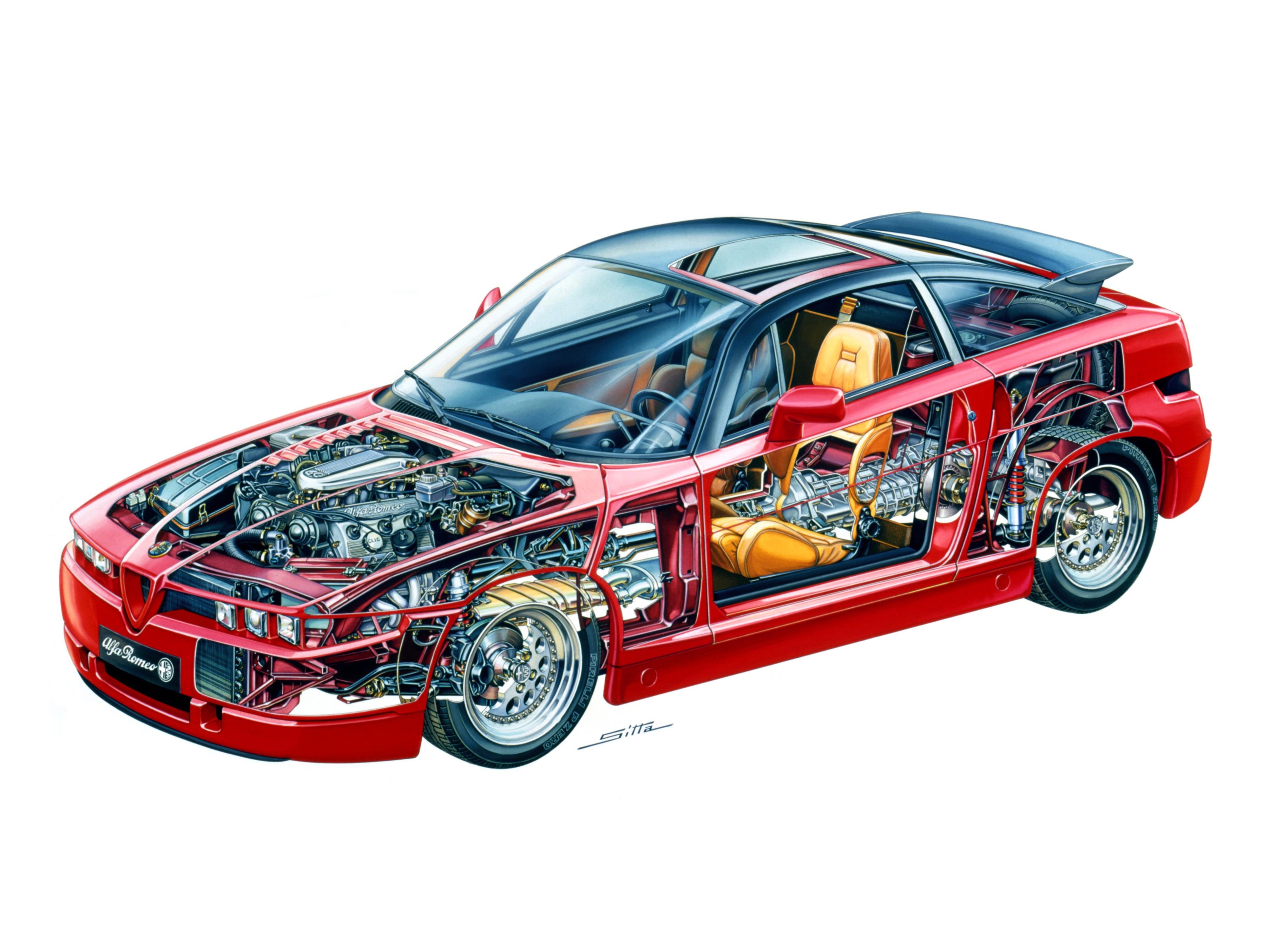 Alfa Romeo SZ cutaway drawing