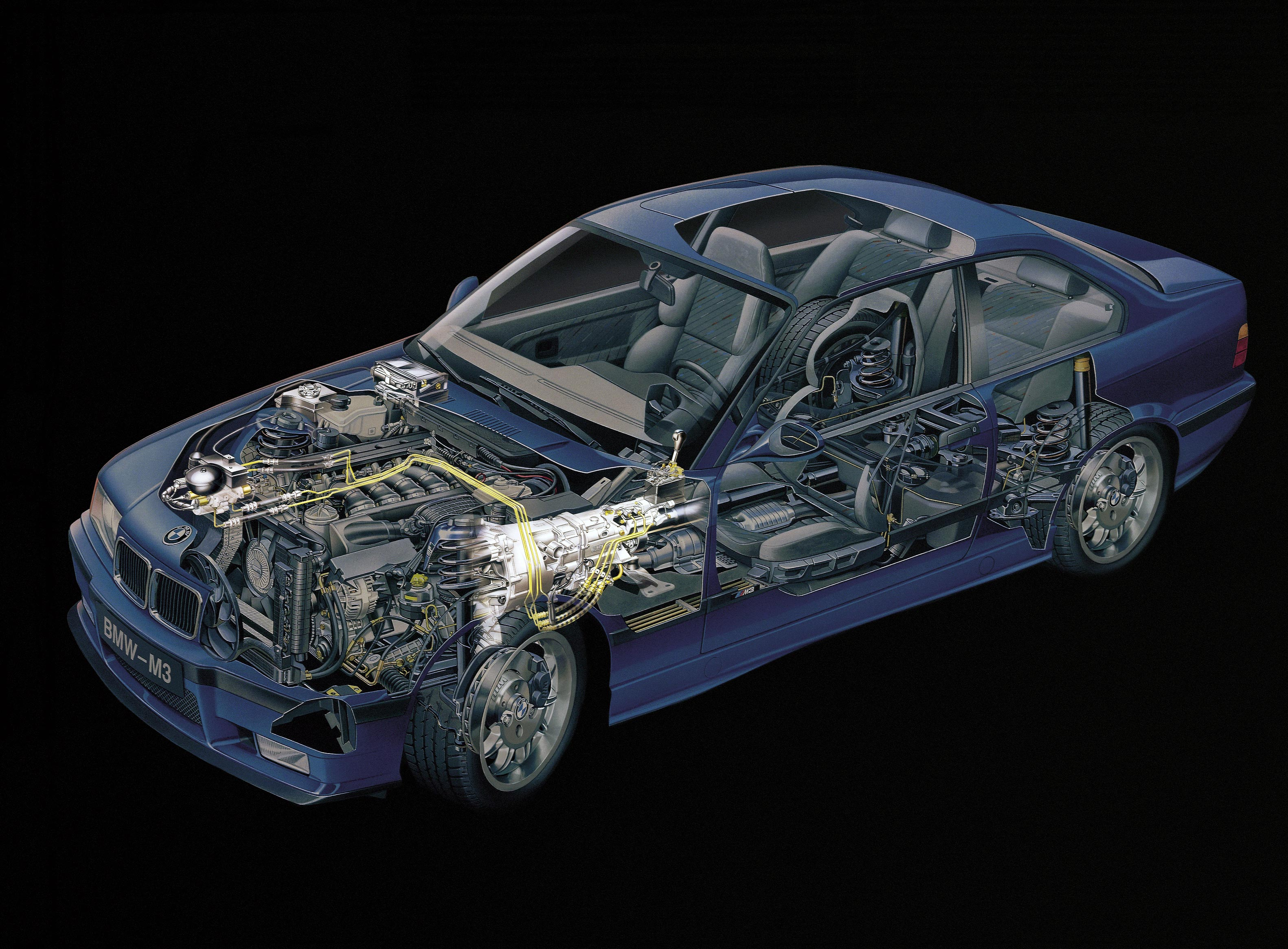 BMW M3 Coupe E36 cutaway drawing