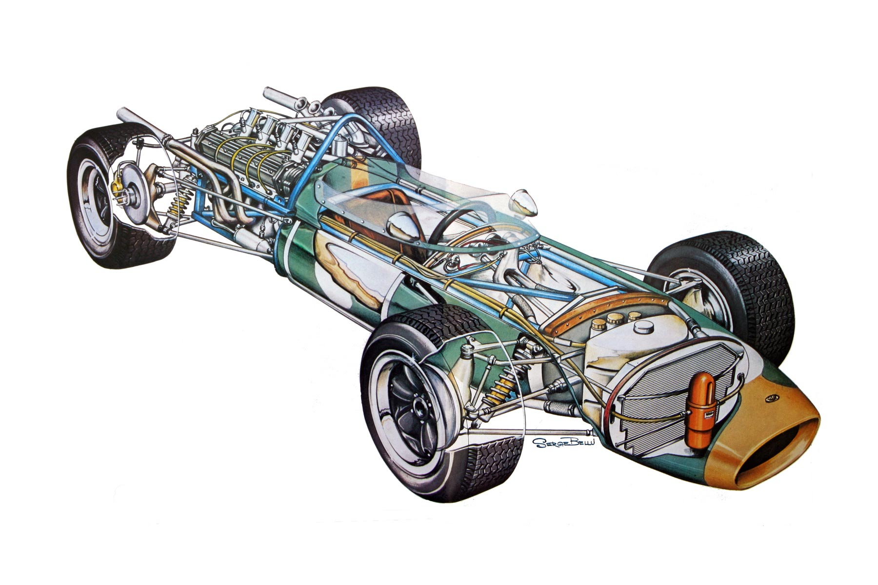 Brabham BT19 cutaway drawing