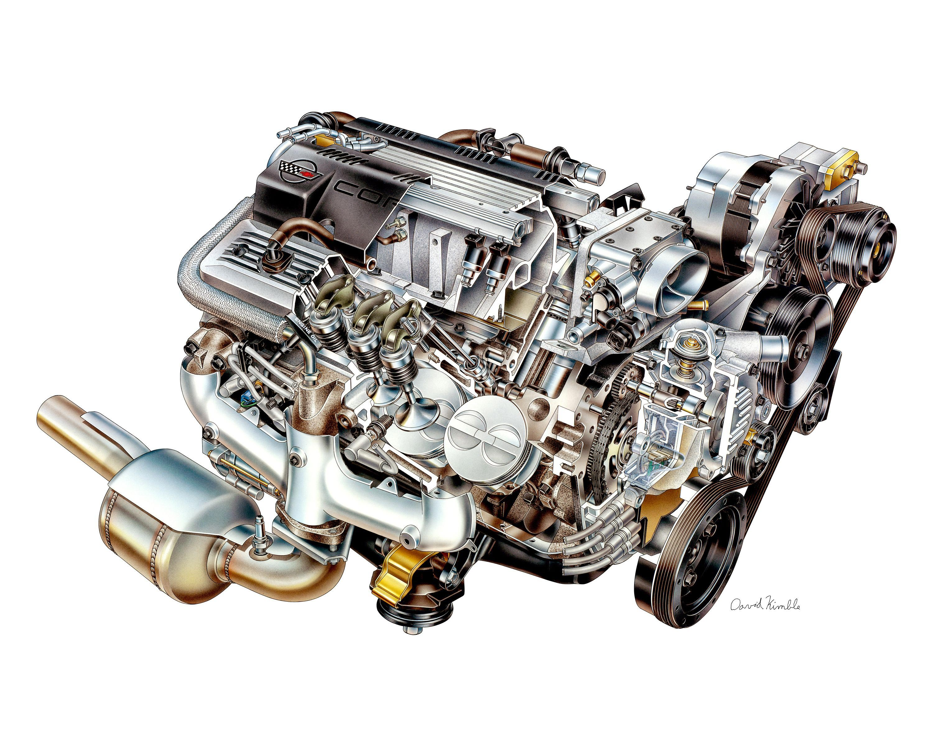 Chevrolet LT1 5.7 Engine cutaway drawing