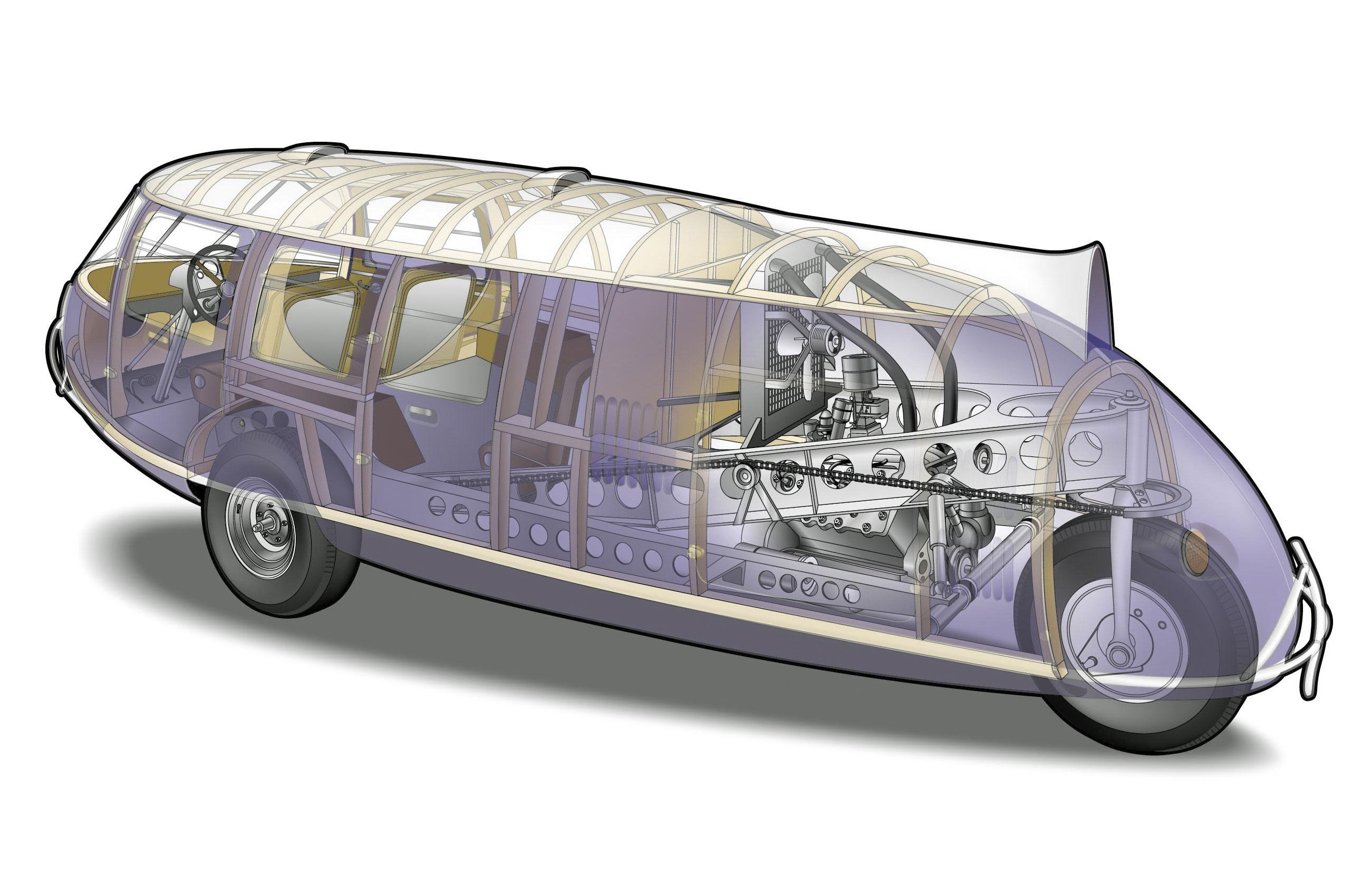 Dymaxion car cutaway drawing