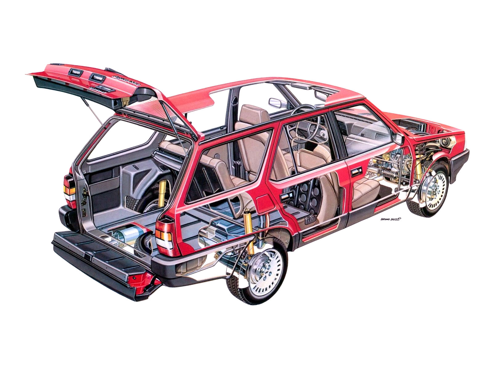 Fiat Regata Weekend Super cutaway drawing