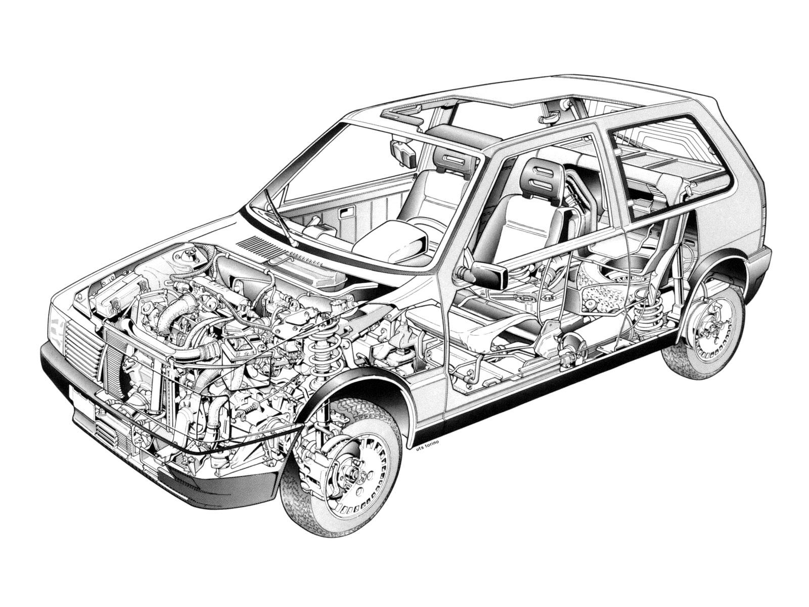 Fiat Uno Turbo cutaway drawing