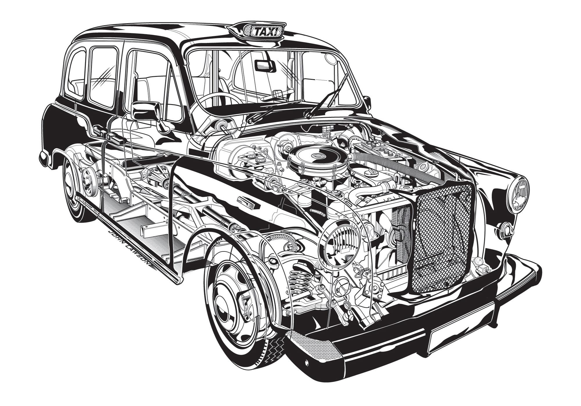 LTI FX4S London Taxi cutaway drawing
