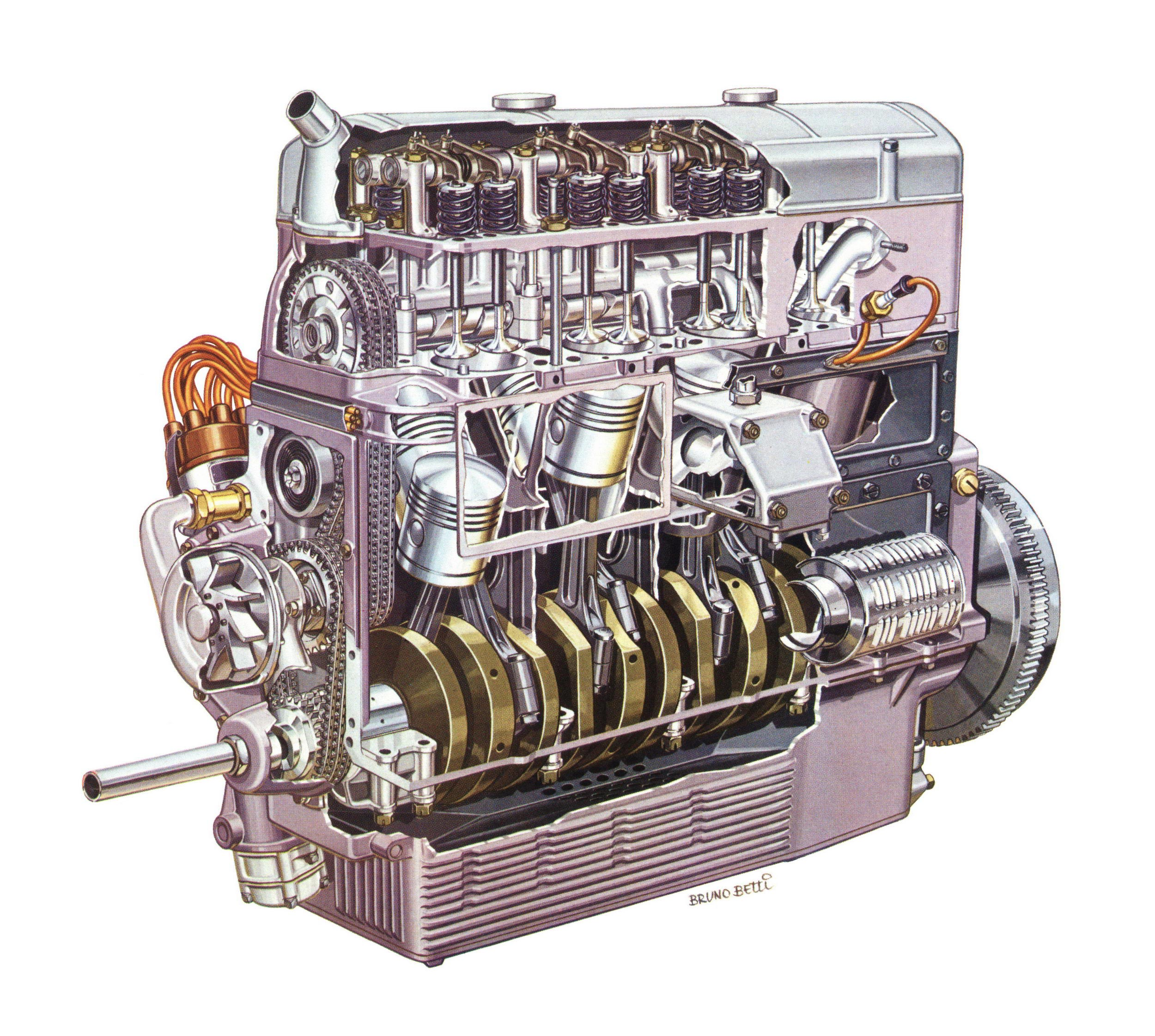 Lancia Dilambda Engine cutaway drawing