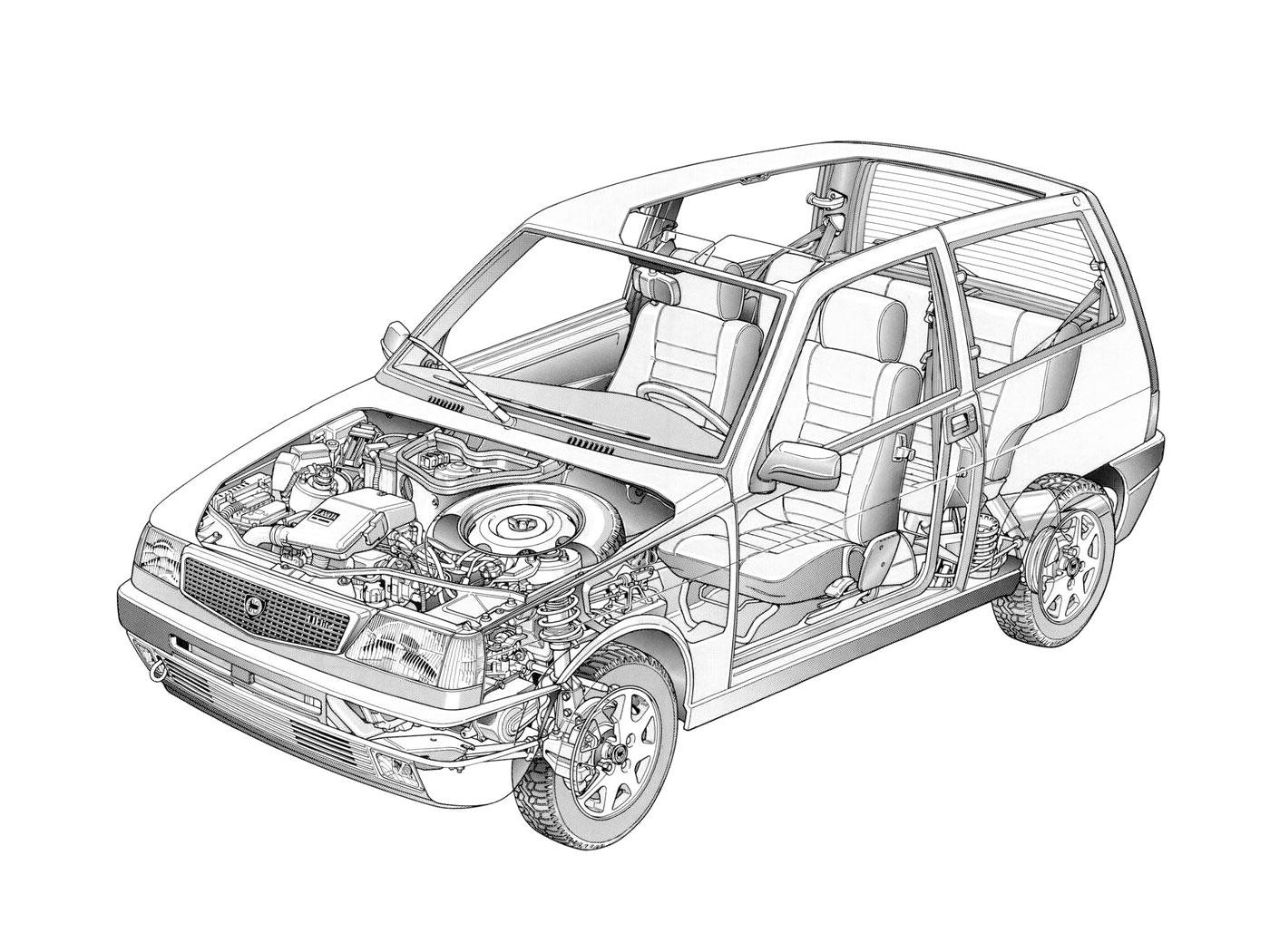 Lancia Y10 Elite cutaway drawing
