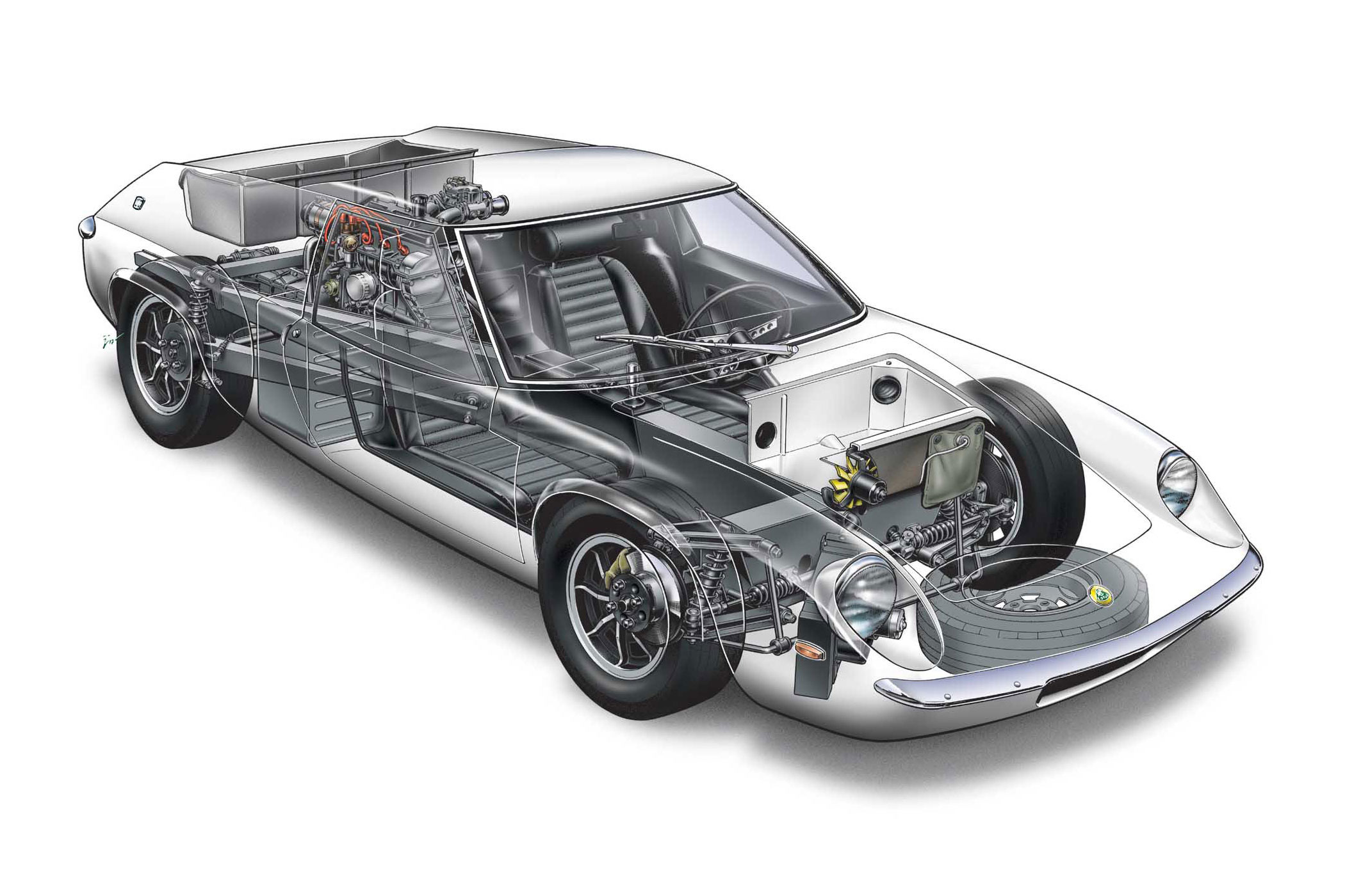 Lotus Europa S1 cutaway drawing