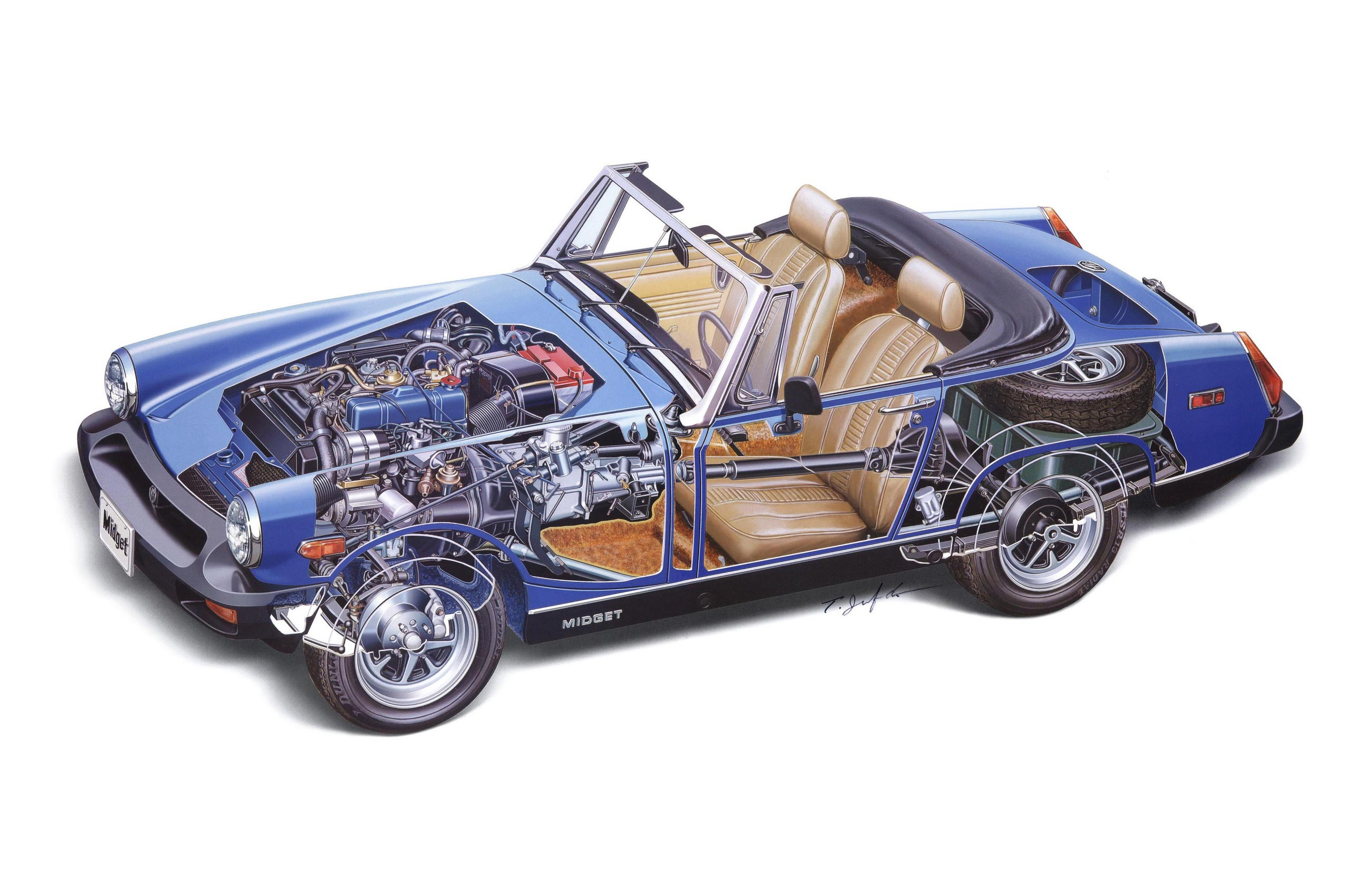 MG Midget 1500 cutaway drawing