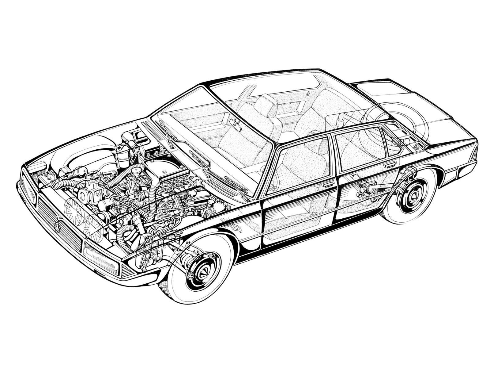 Maserati Quattroporte cutaway drawing