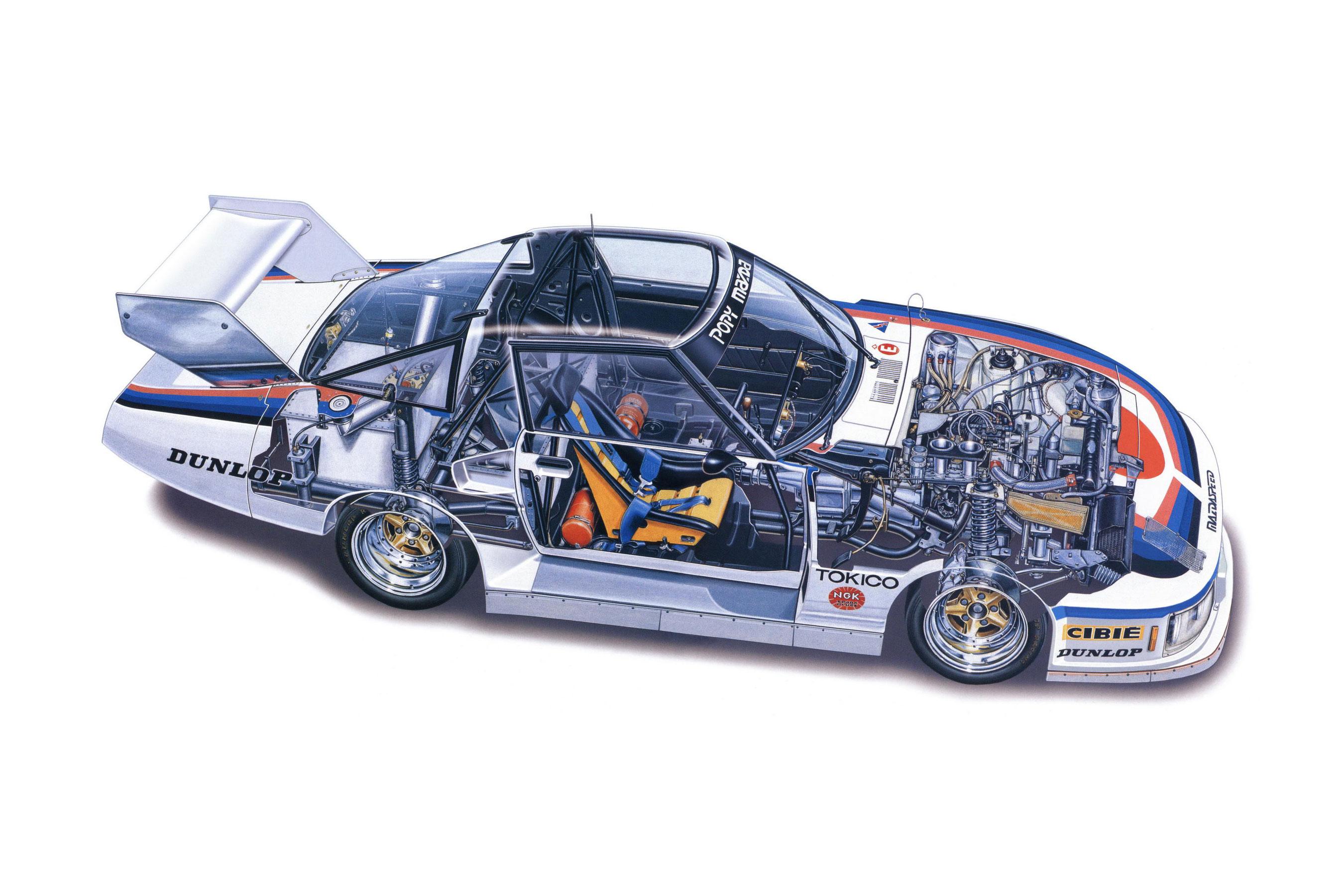 Mazda RX-7 cutaway drawing