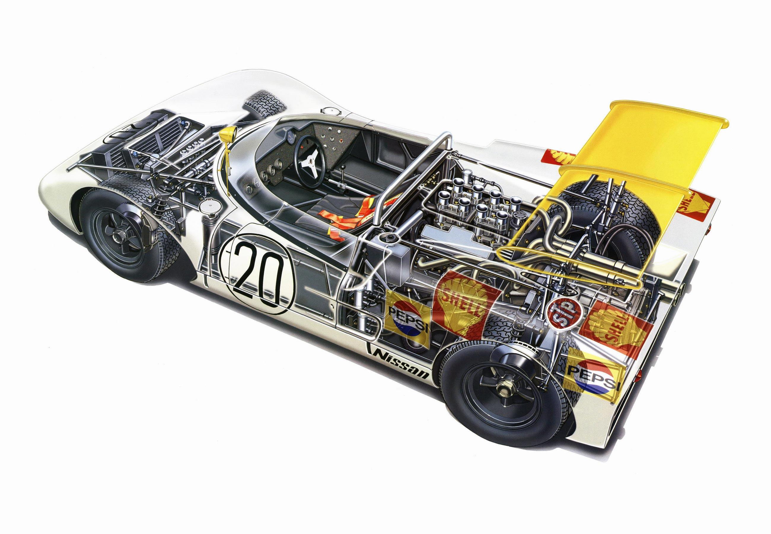 Nissan R381 cutaway drawing