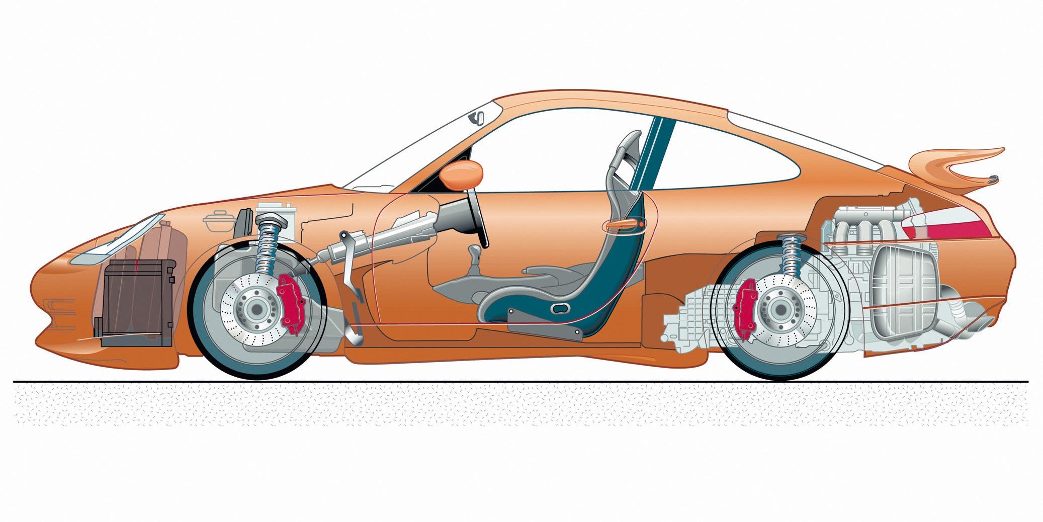 Porsche 911 GT3 cutaway drawing