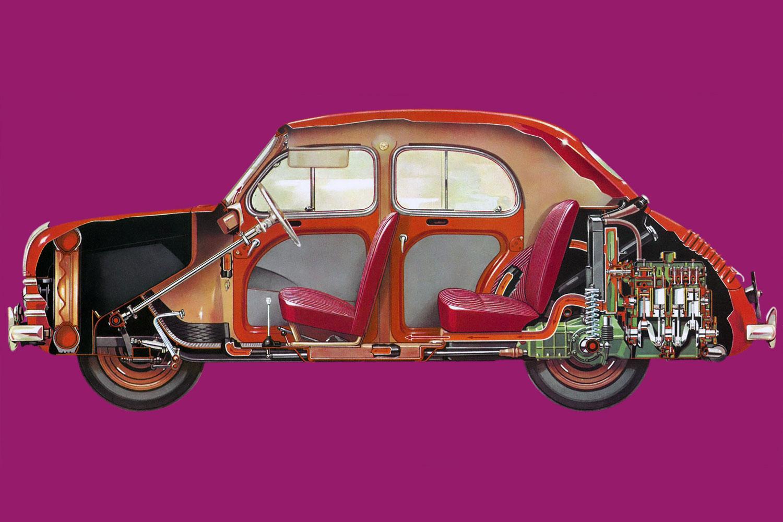 Renault 4CV cutaway drawing