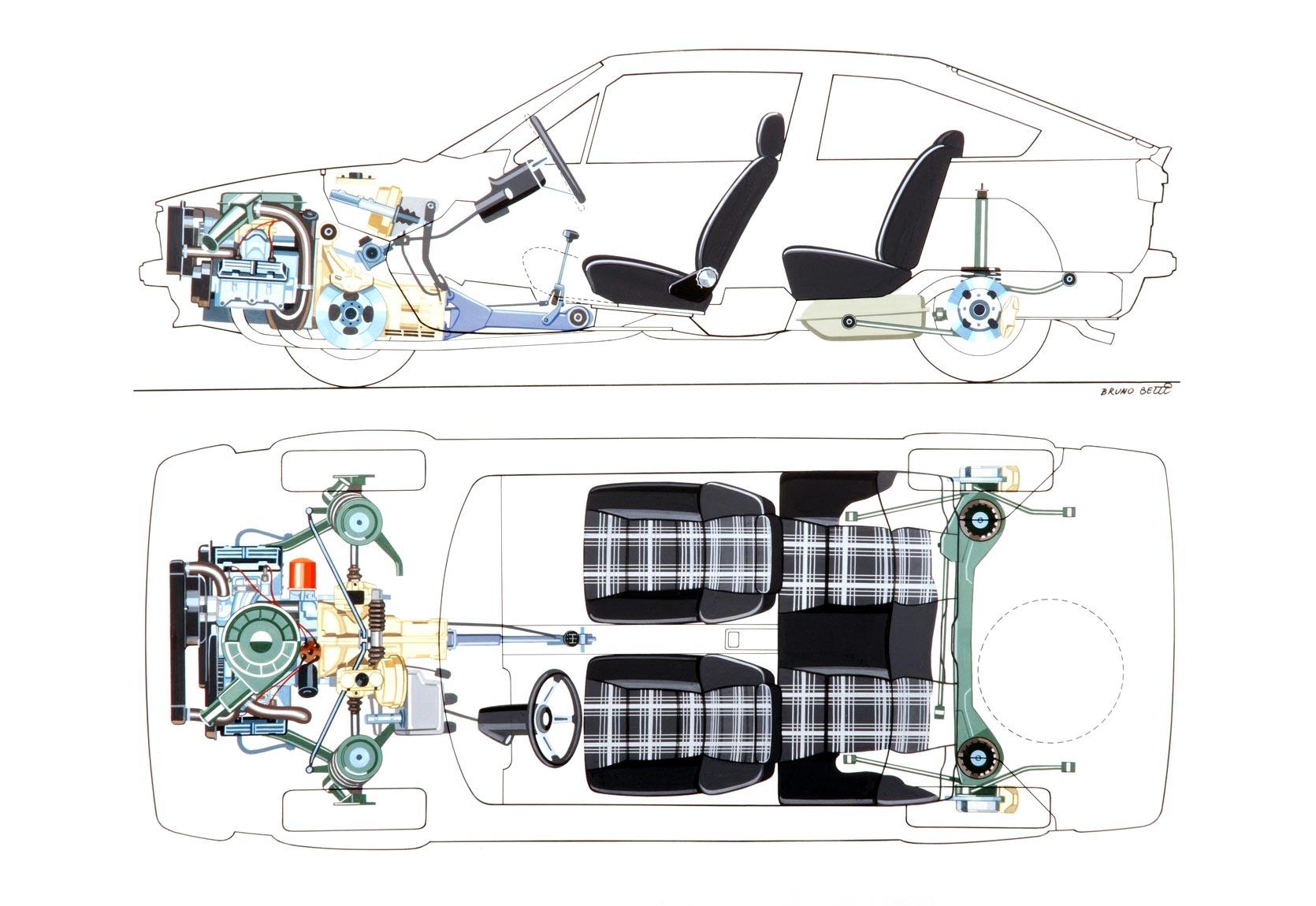 Alfa Romeo Alfasud Sprint cutaway drawing