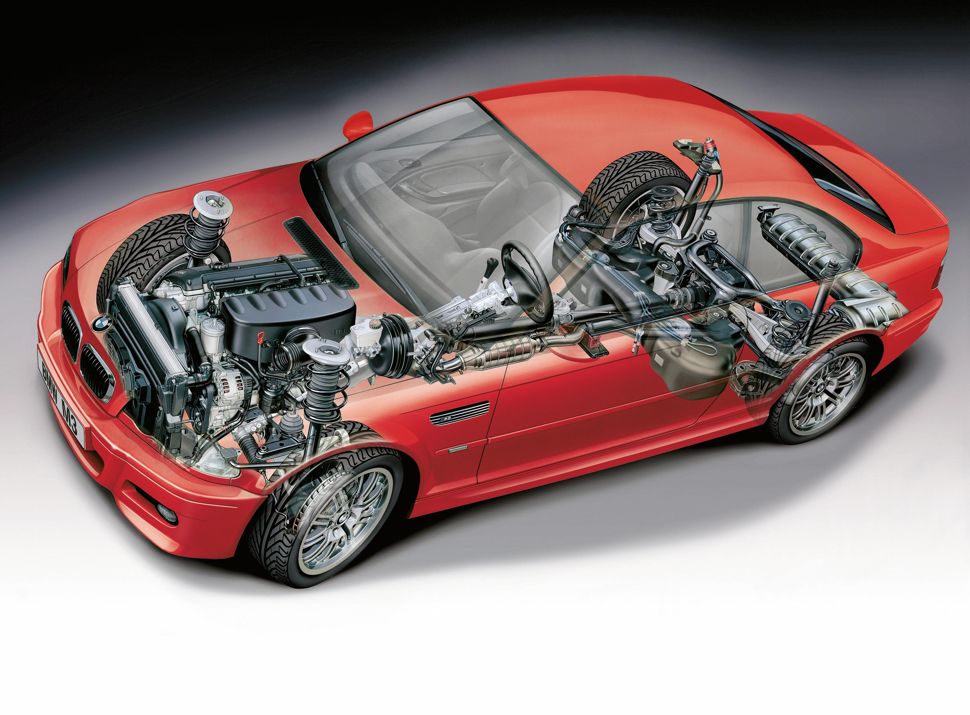 BMW M3 Coupe 2000 cutaway drawing