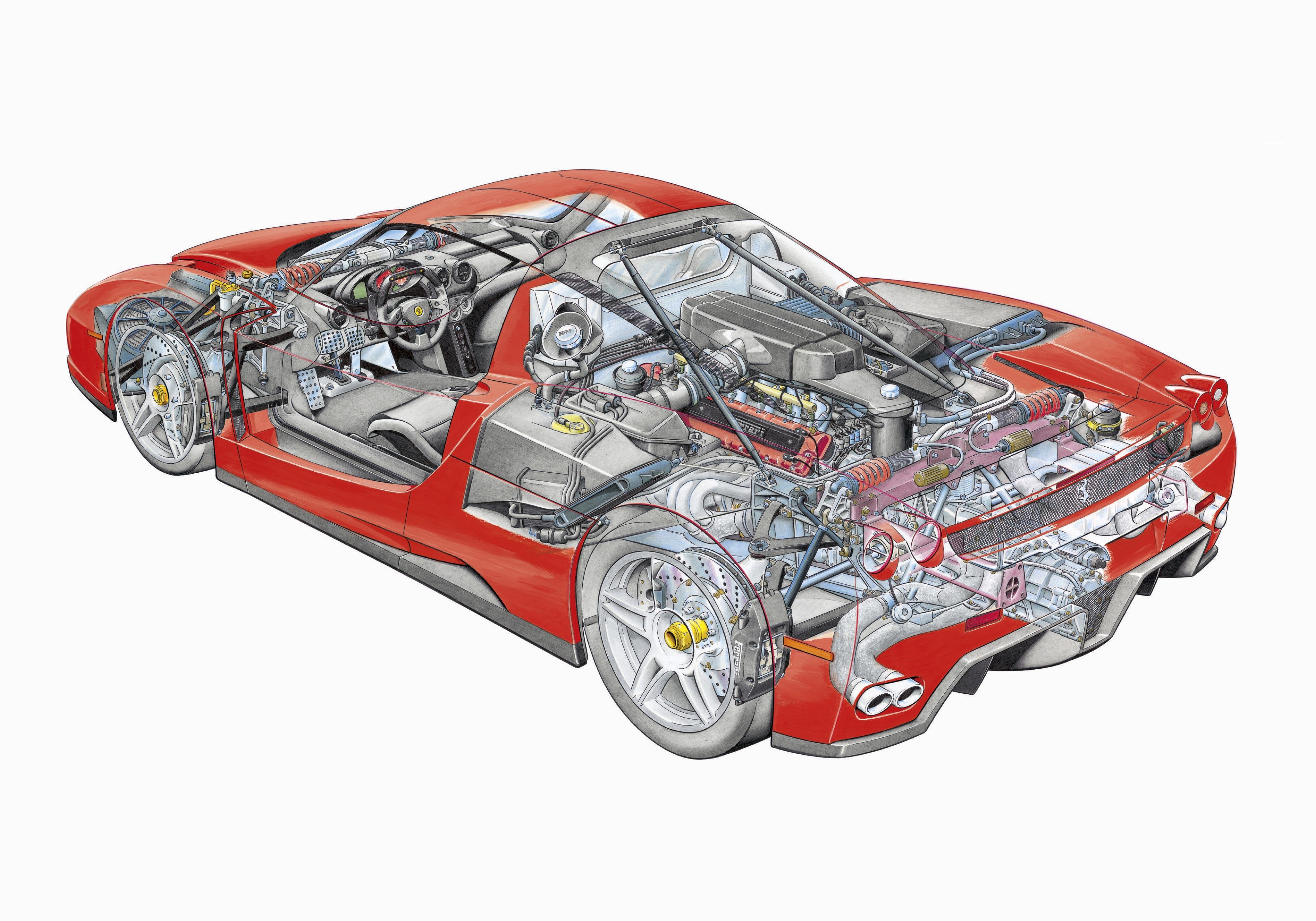 Enzo Ferrari cutaway drawing