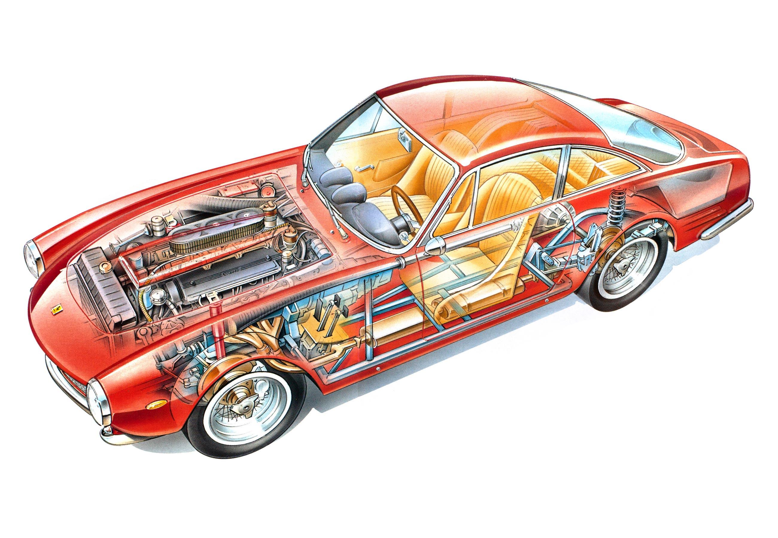 Ferrari 250 GT Berlinetta Lusso cutaway drawing