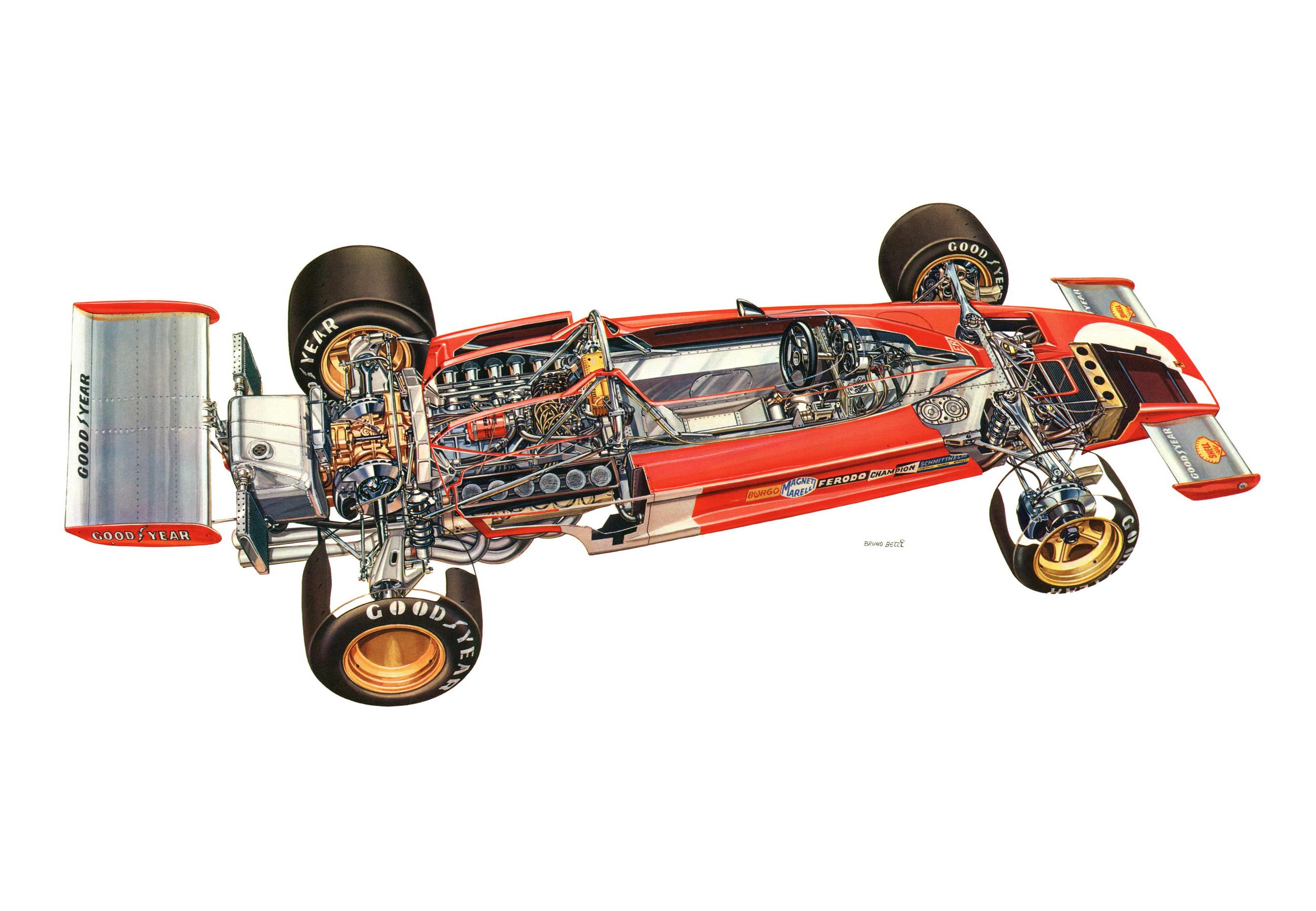 Ferrari 312 B3-73 cutaway drawing
