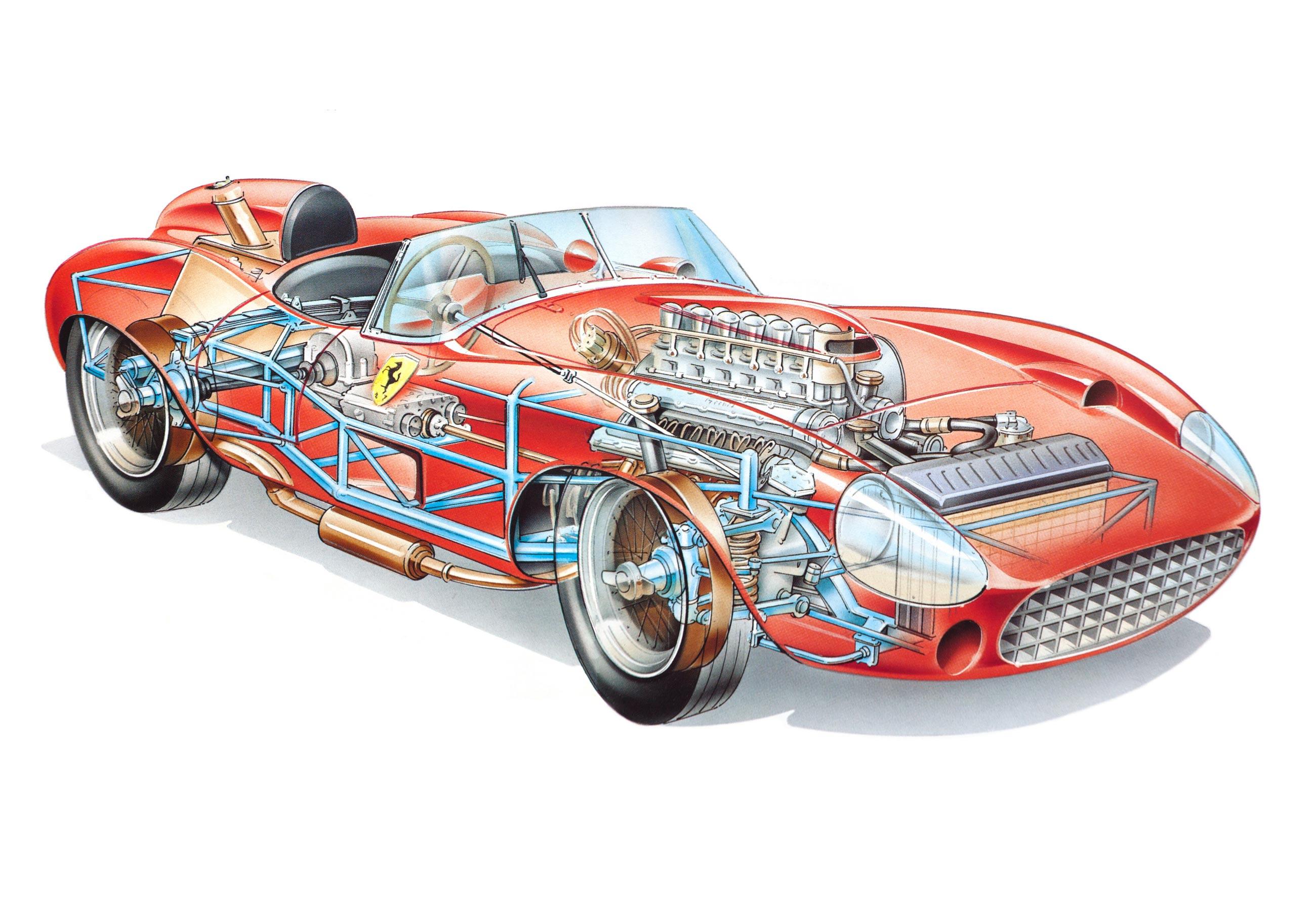 Ferrari 315 S Spyder cutaway drawing
