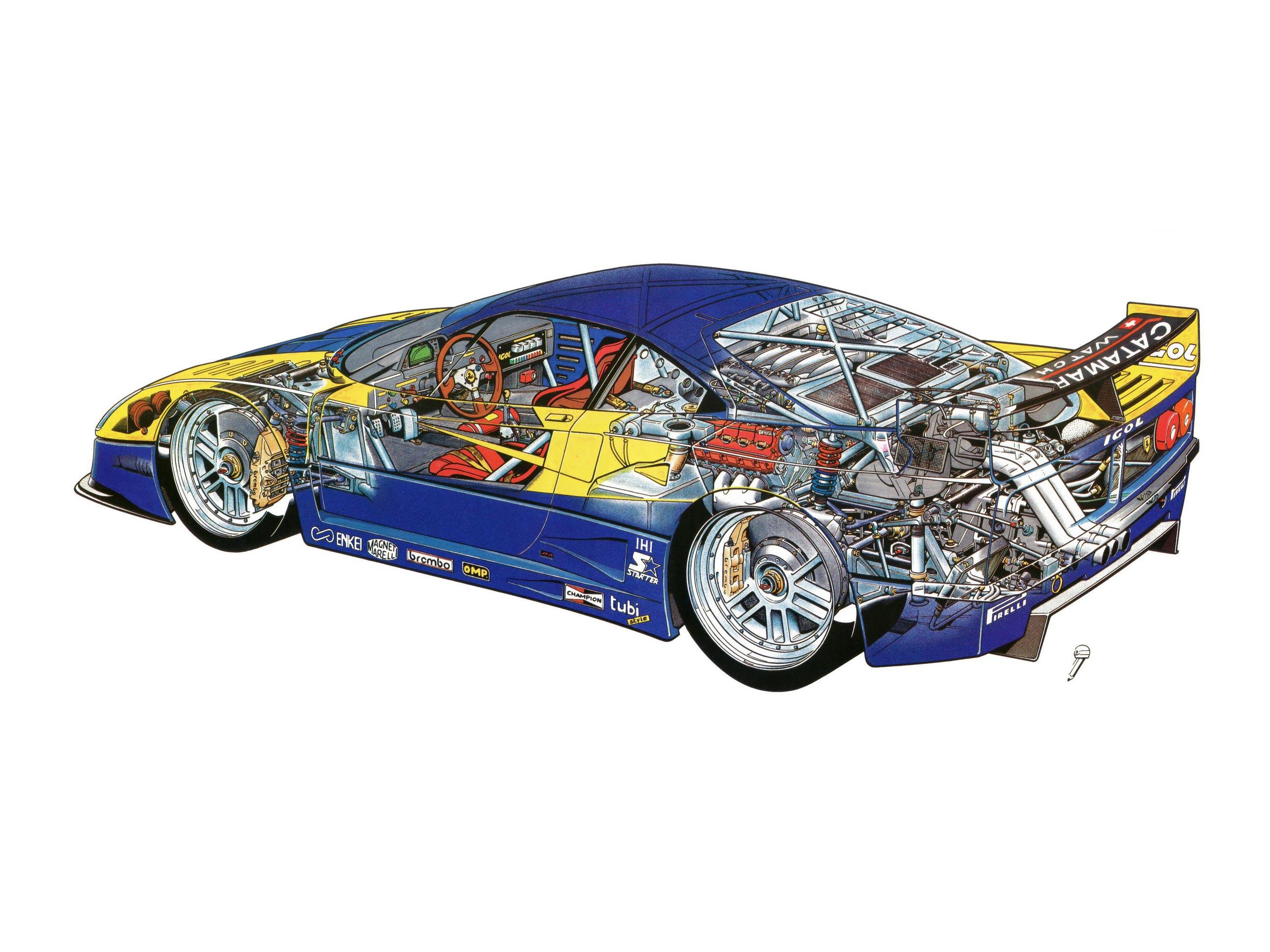 Ferrari F40 GTE cutaway drawing