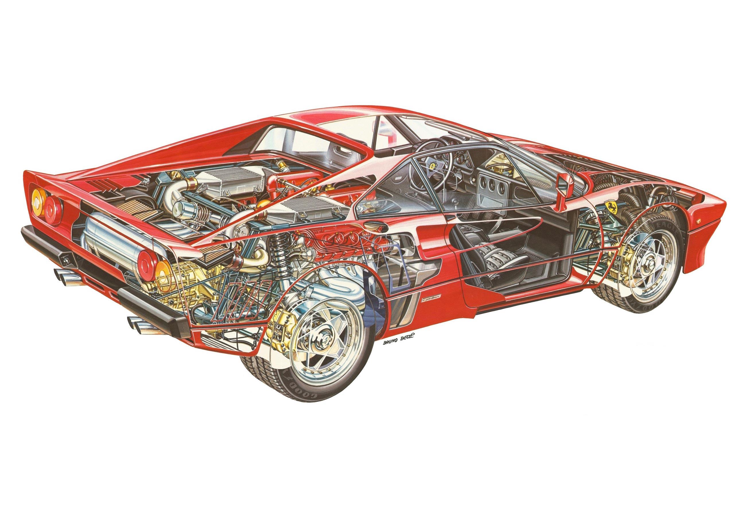 Ferrari 288 GTO cutaway drawing