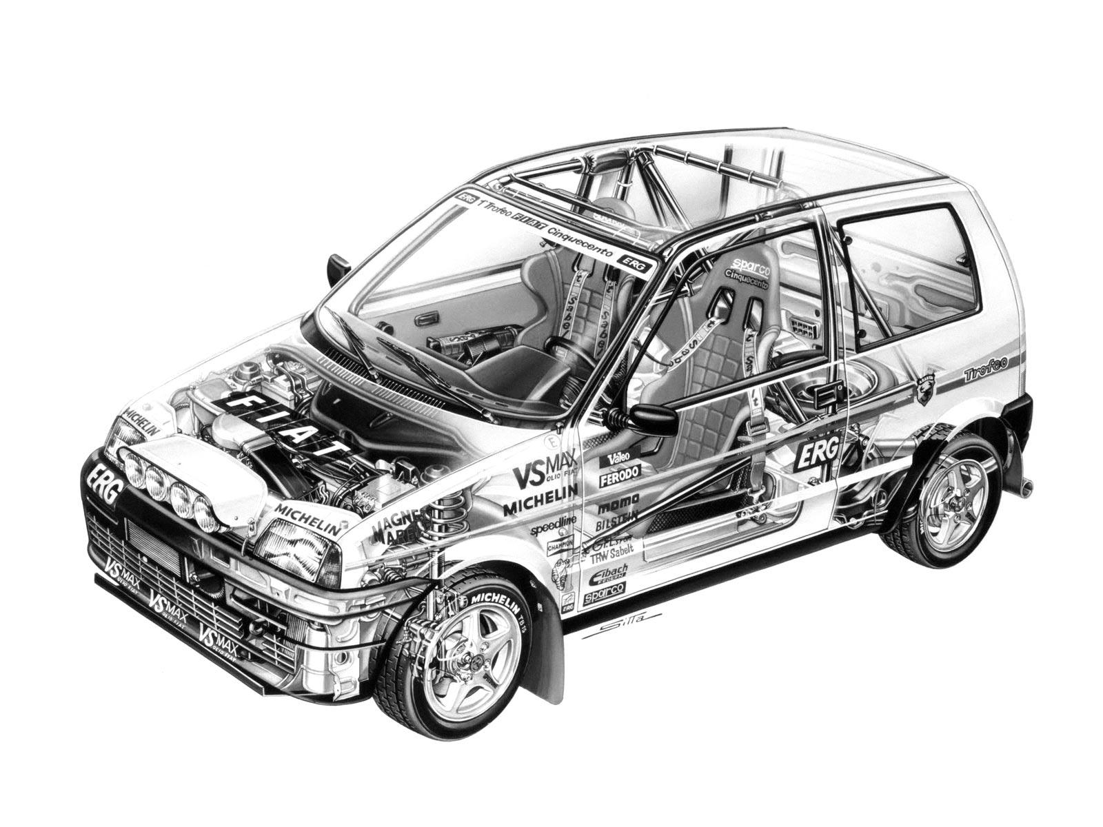 Fiat Cinquecento Trofeo cutaway drawing