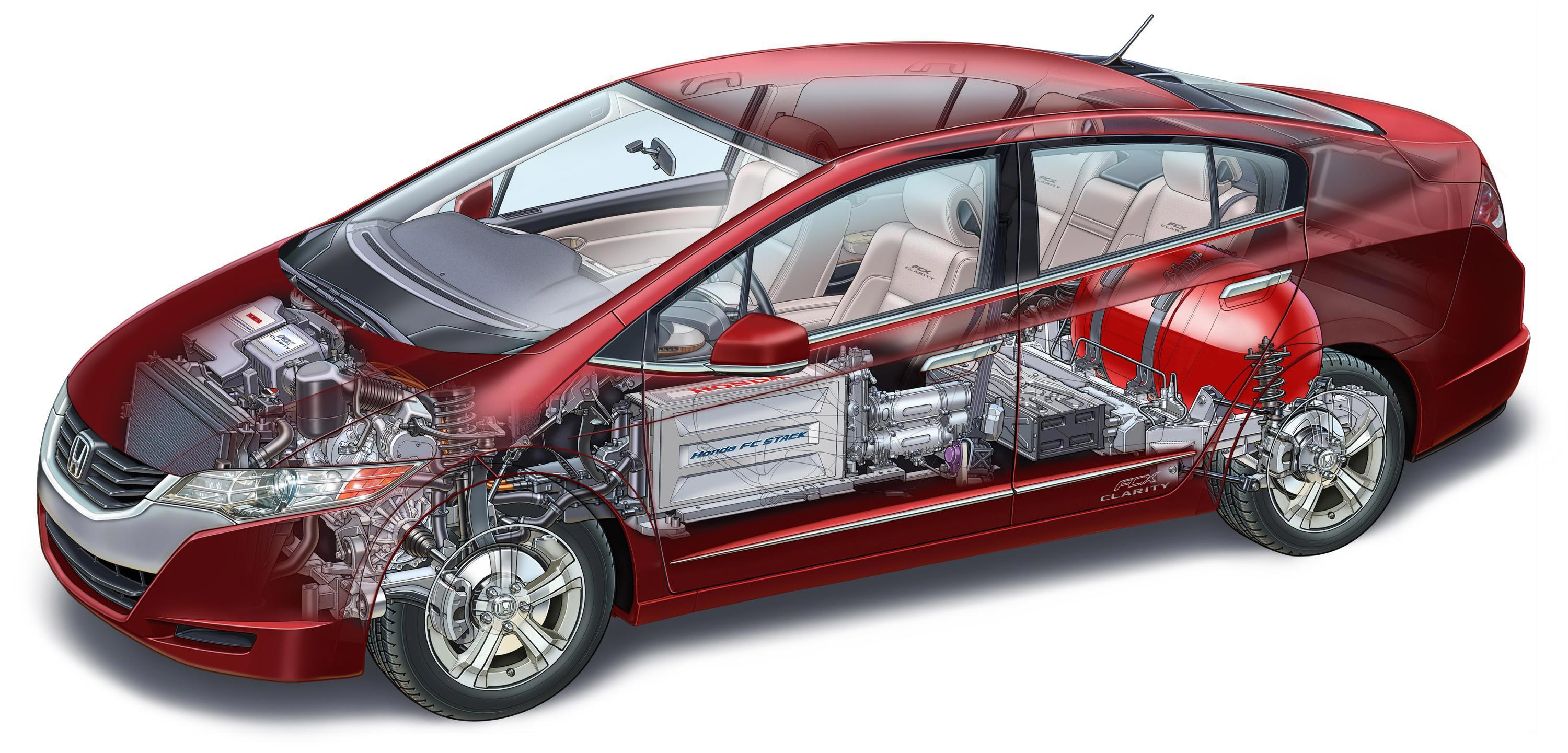 Honda FCX Clarity cutaway drawing