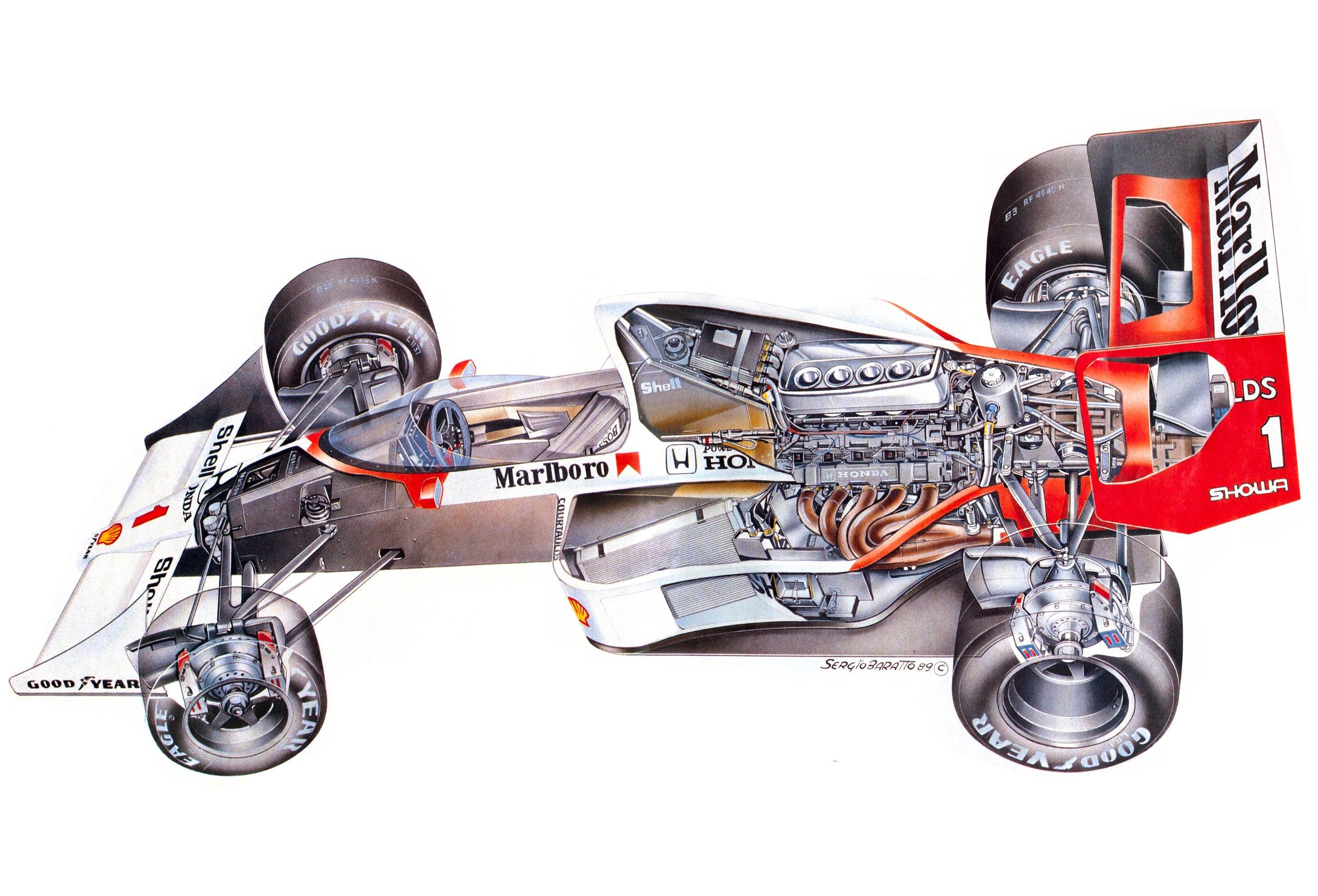 McLaren MP4/5 cutaway drawing