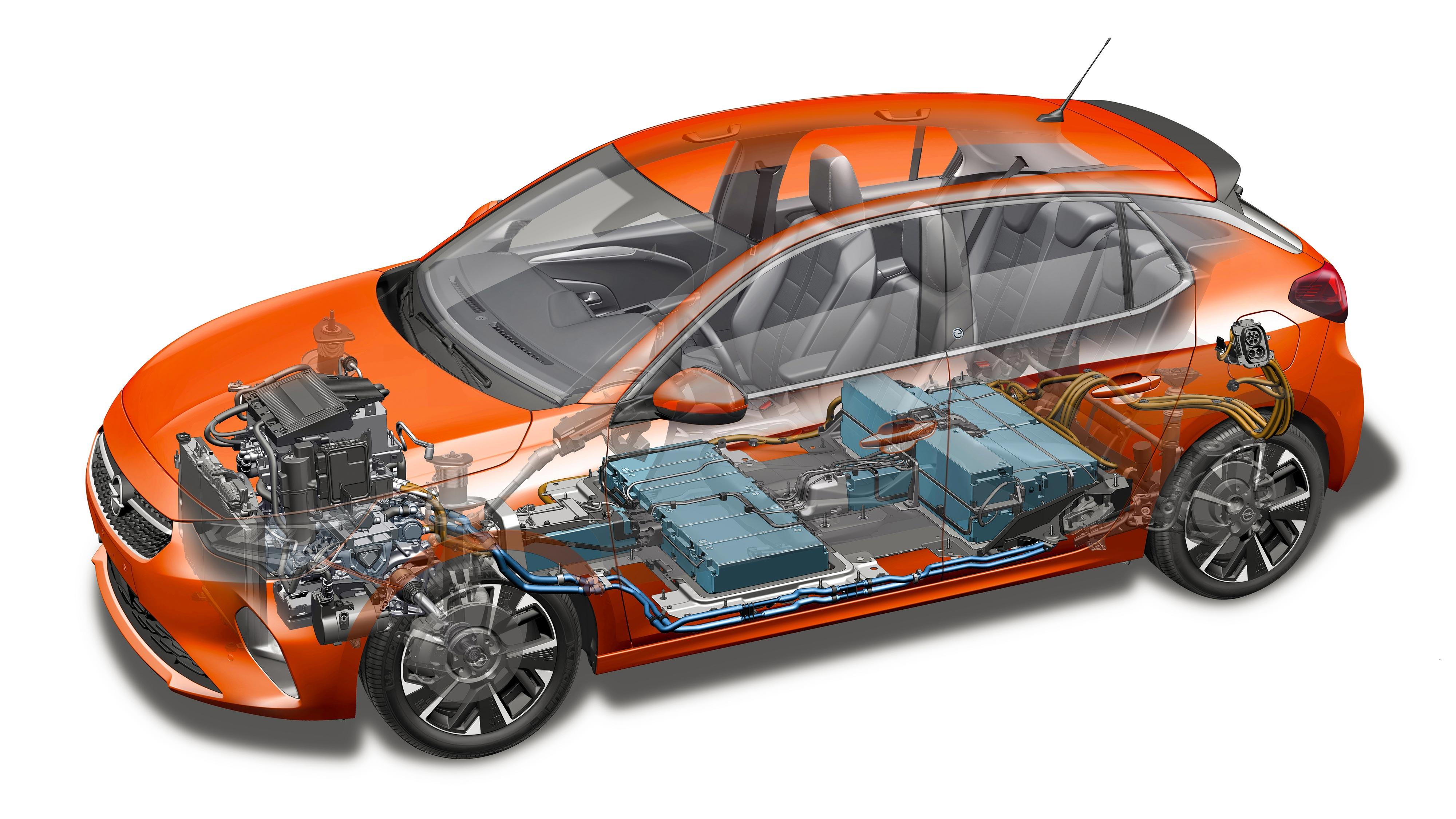 Opel Corsa-e cutaway drawing