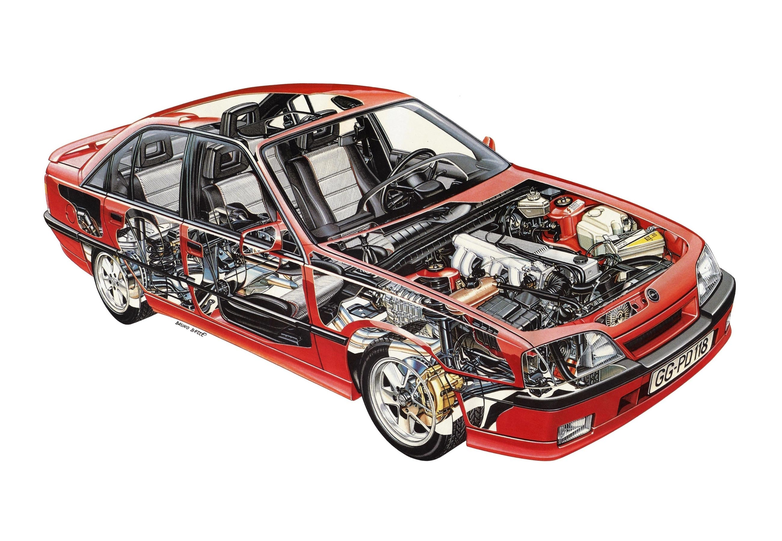Opel Omega cutaway drawing