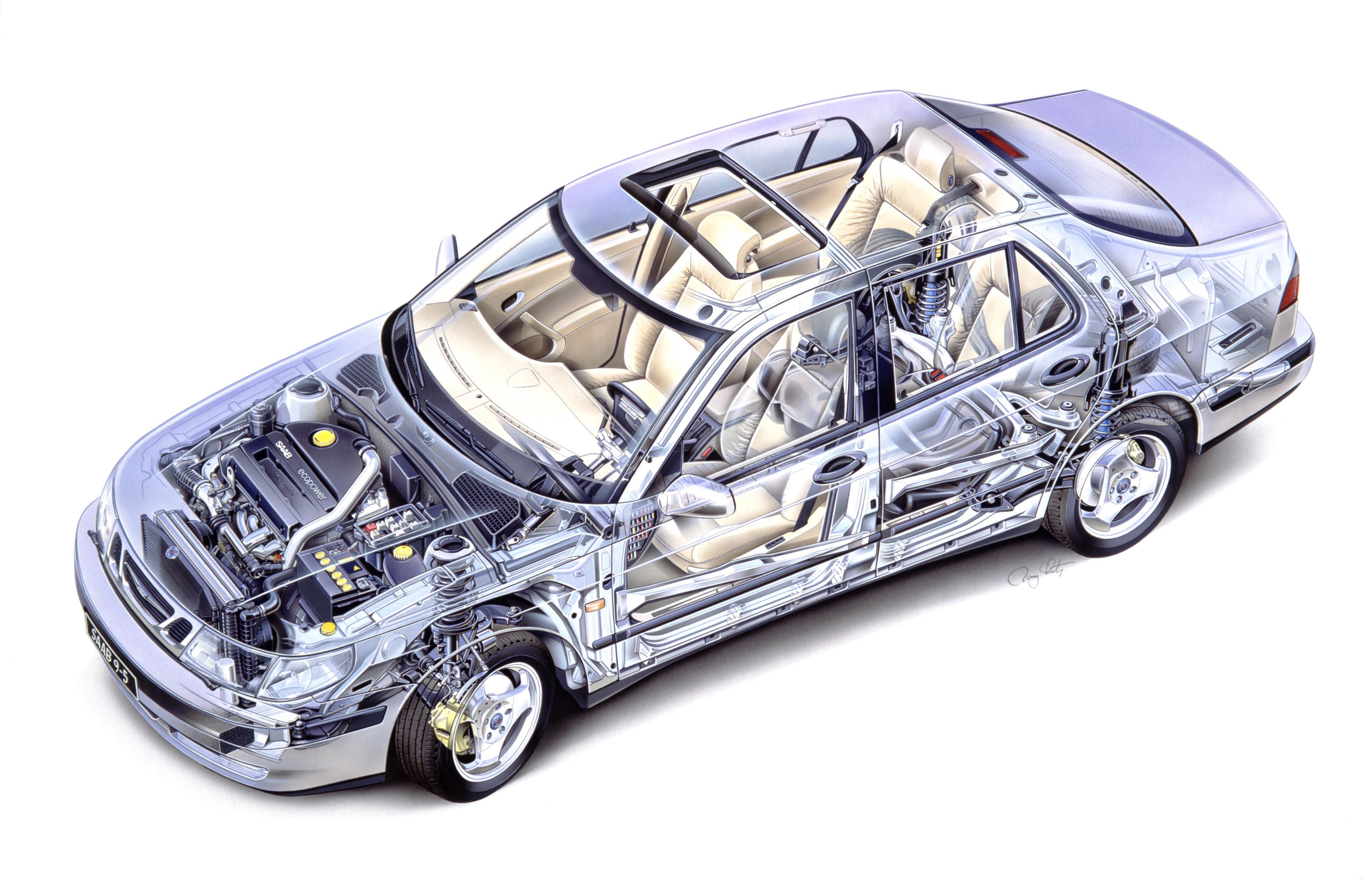 Saab 9-5 Sedan cutaway drawing