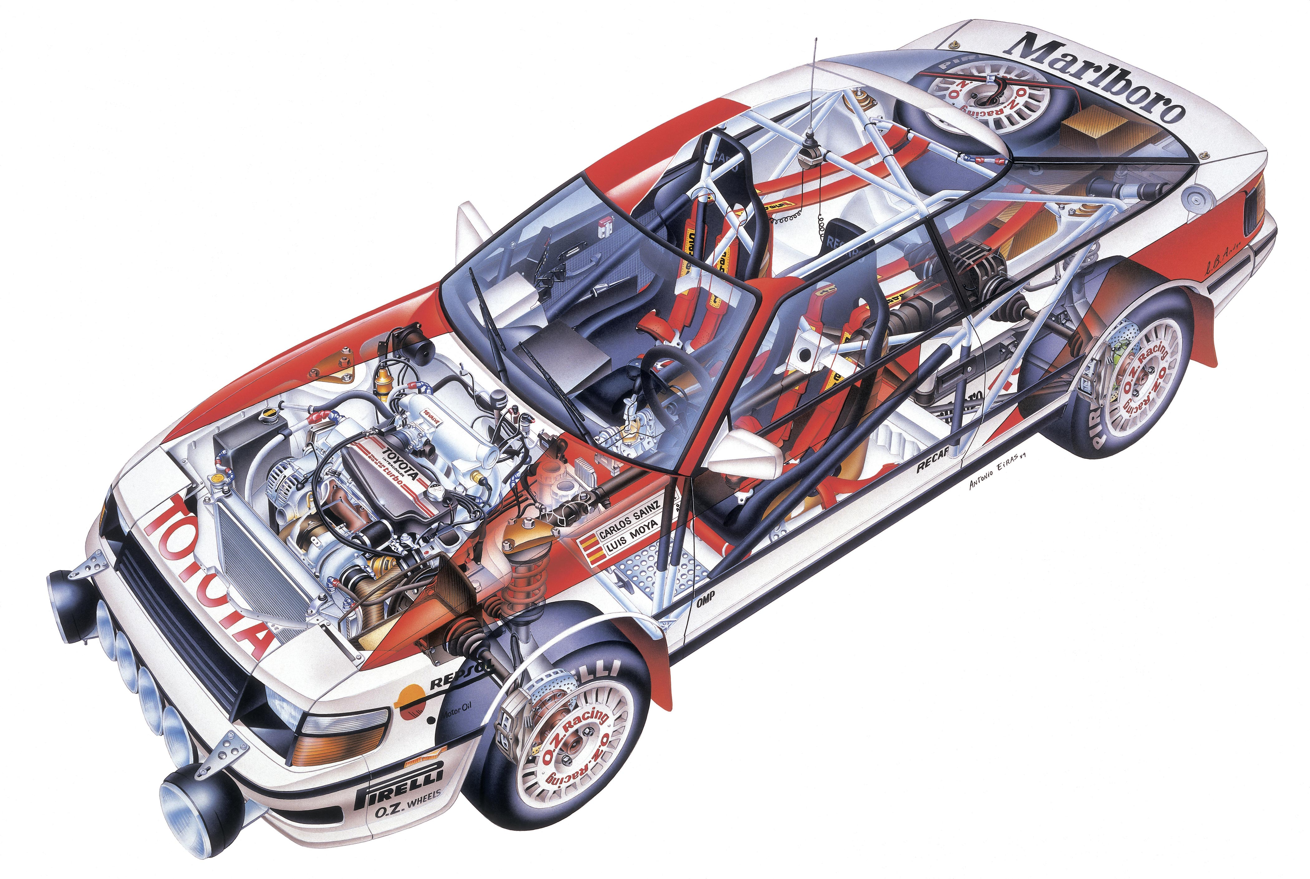 Toyota Celica Turbo 4WD Group А cutaway drawing