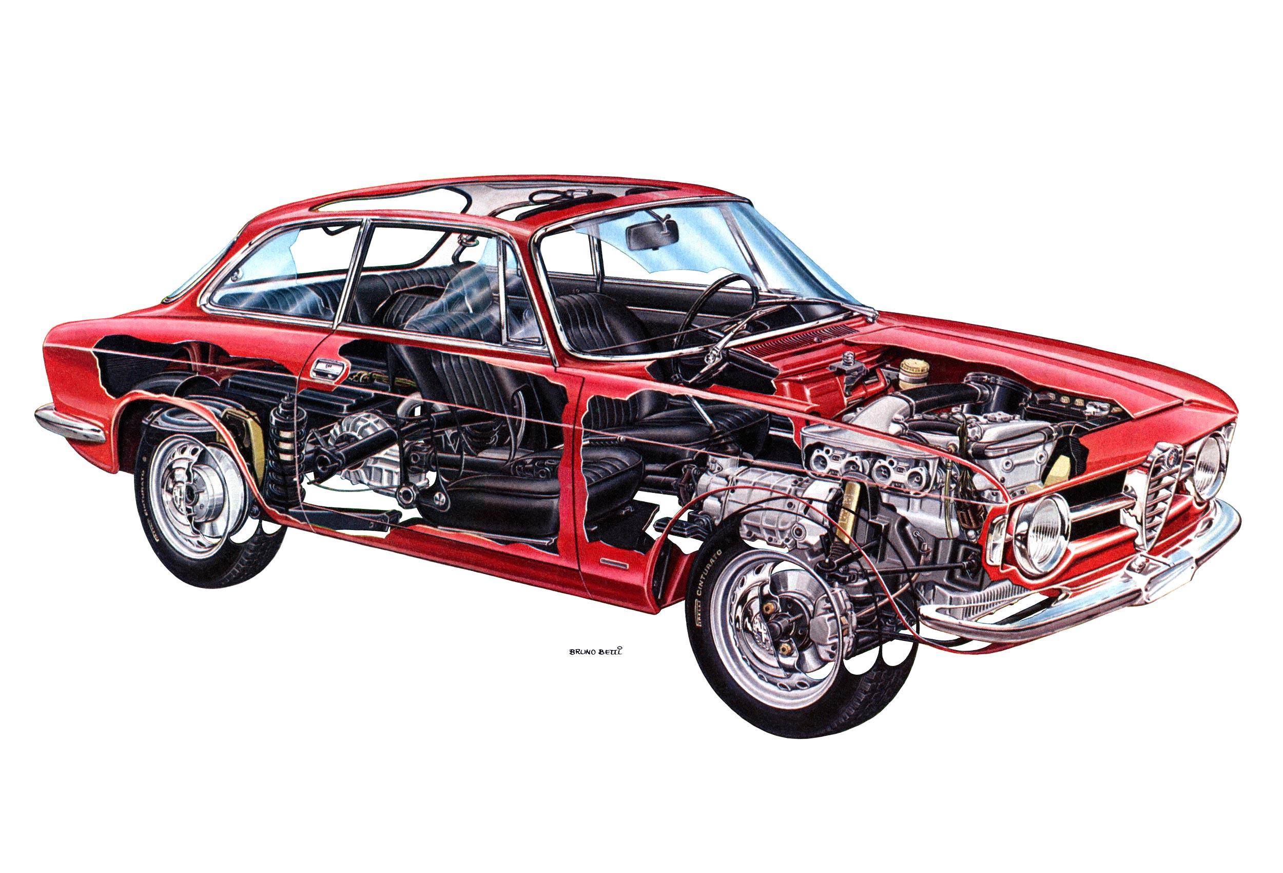 Alfa Romeo Giulia GT 1300 Junior cutaway drawing