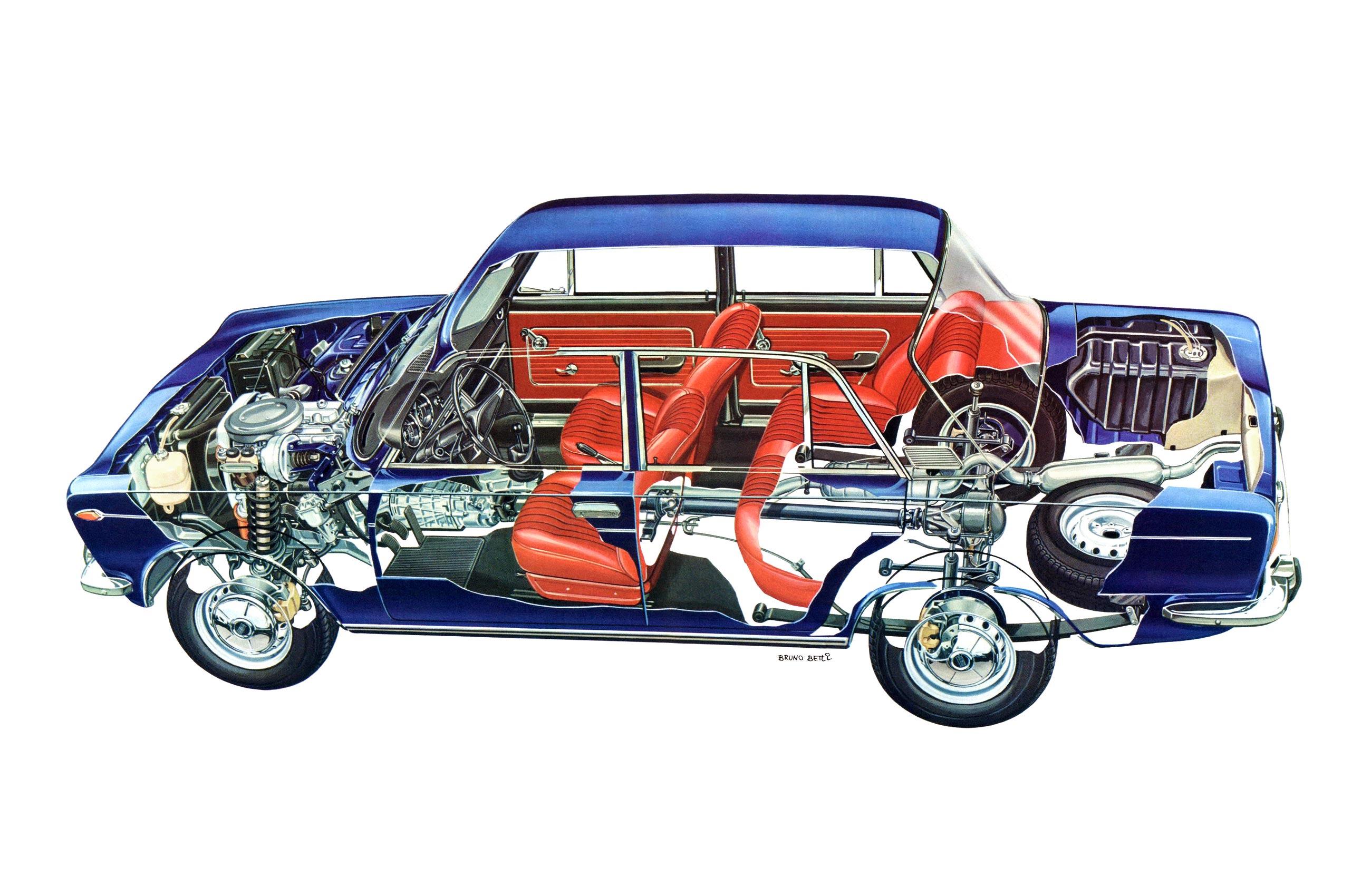Fiat 125 cutaway drawing