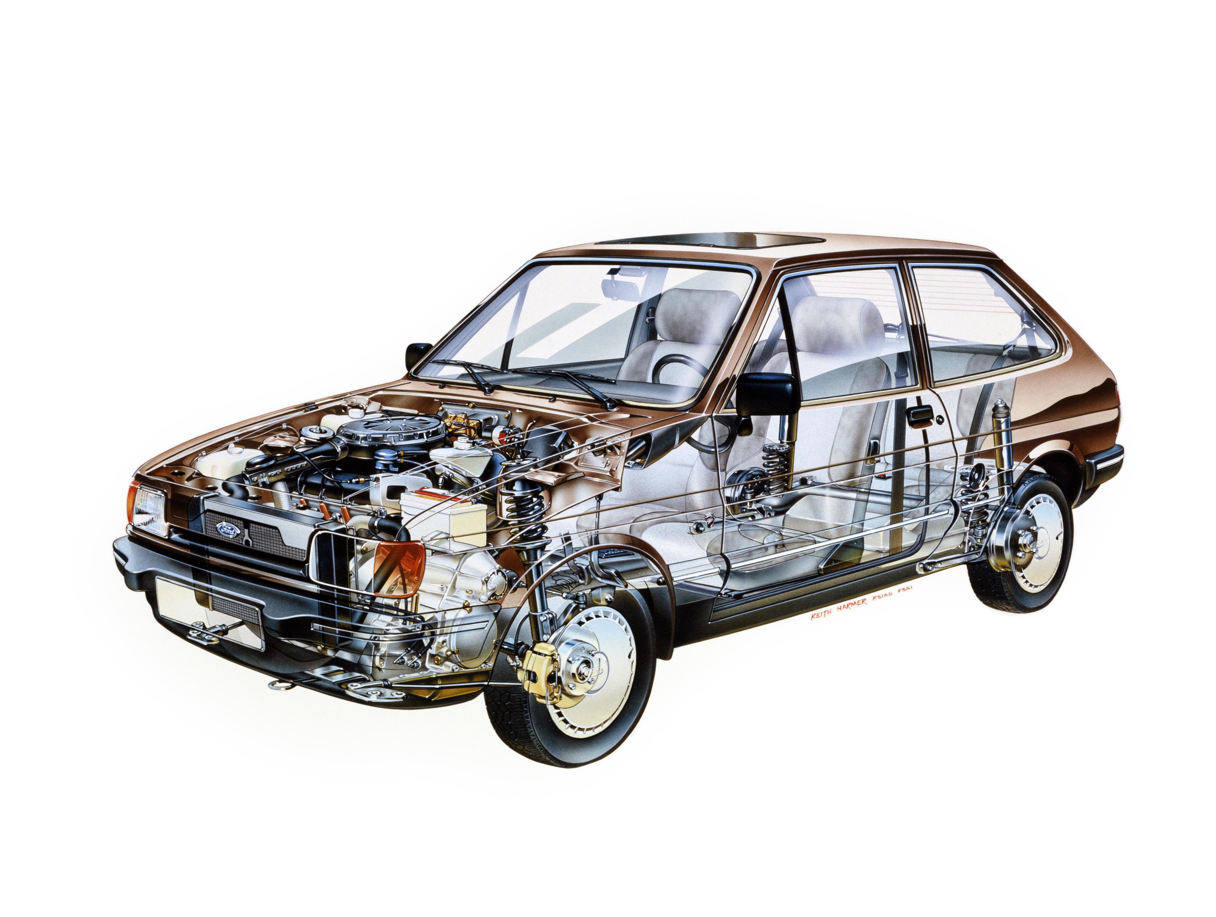 Ford Fiesta Ghia cutaway drawing