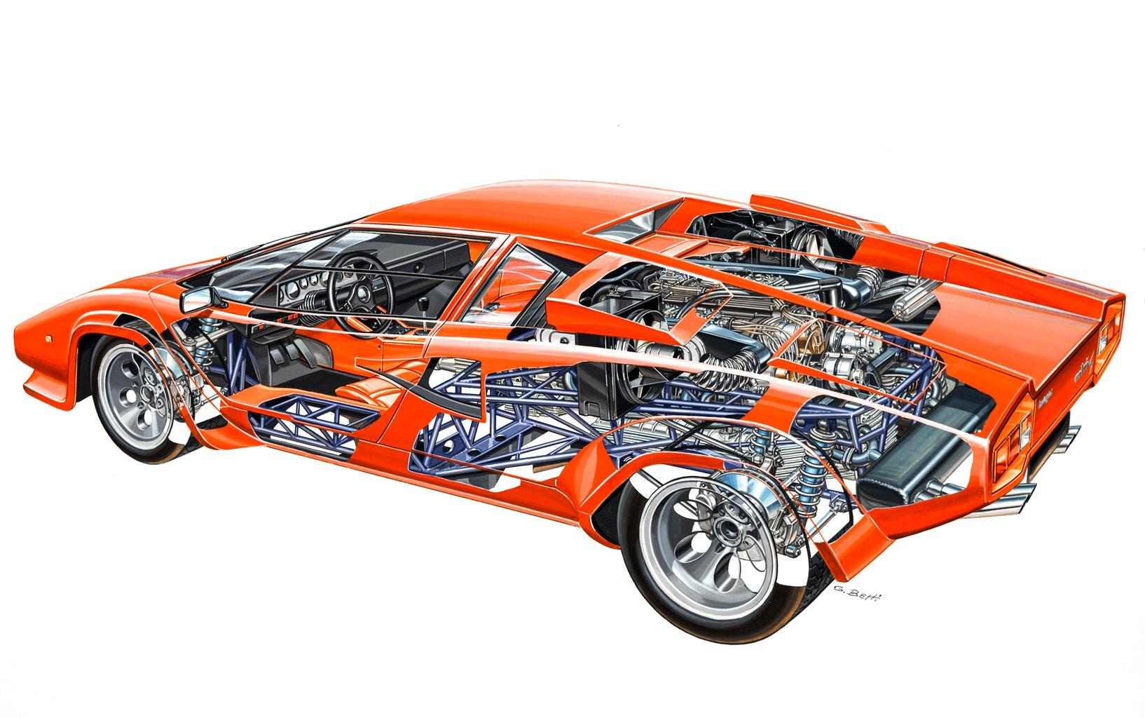 Lamborghini Countach LP400 S cutaway drawing