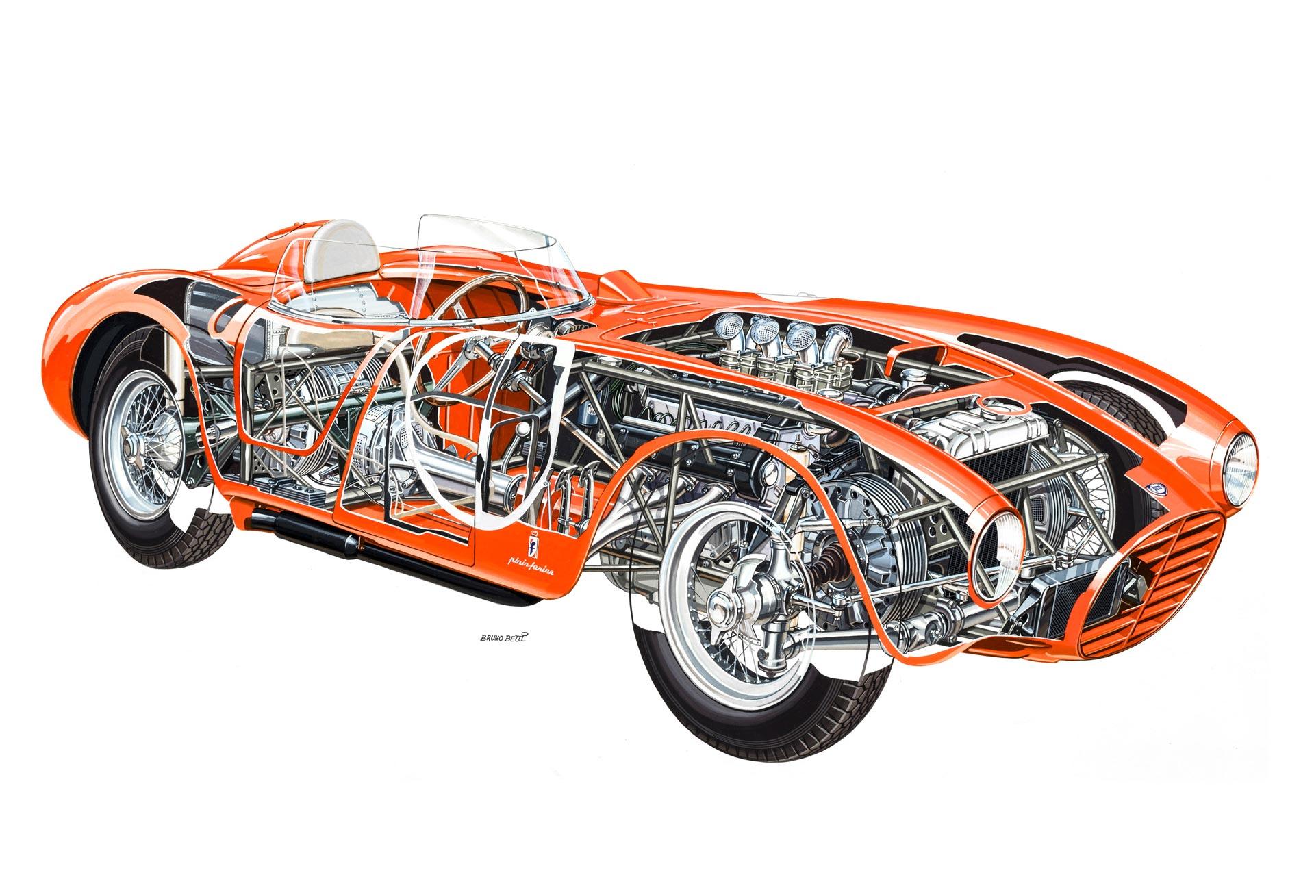 Lancia D24 cutaway drawing
