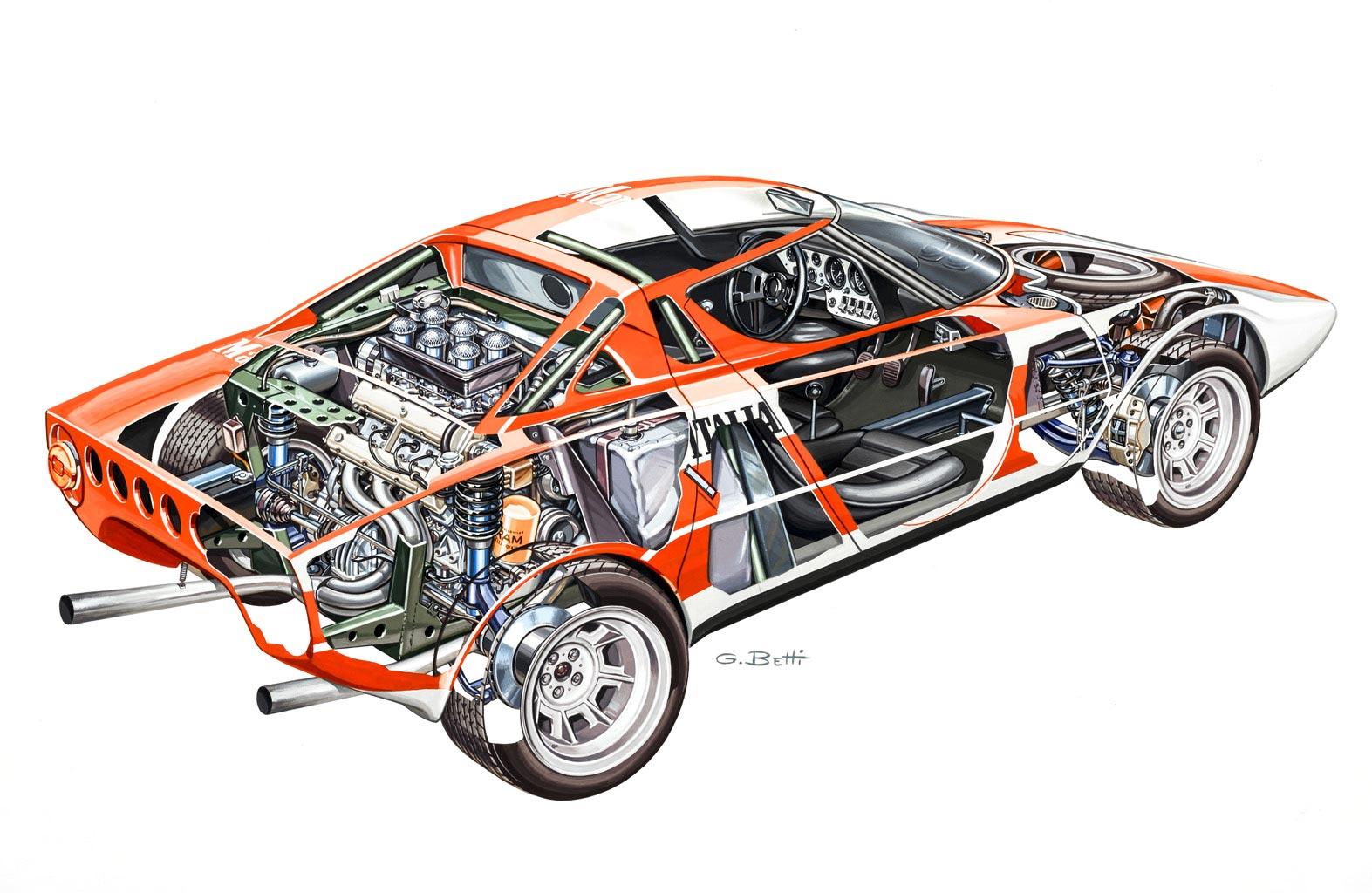 Lancia Stratos Group 4 cutaway drawing