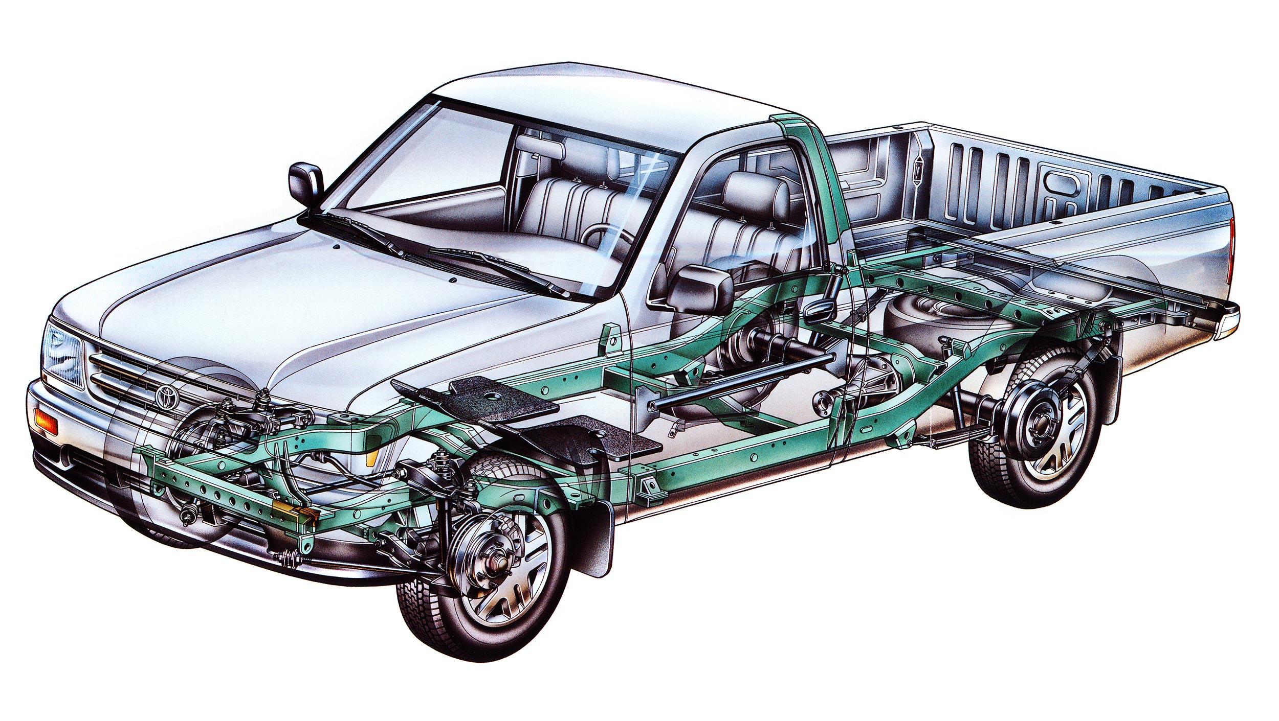 Toyota T100 pickup cutaway drawing